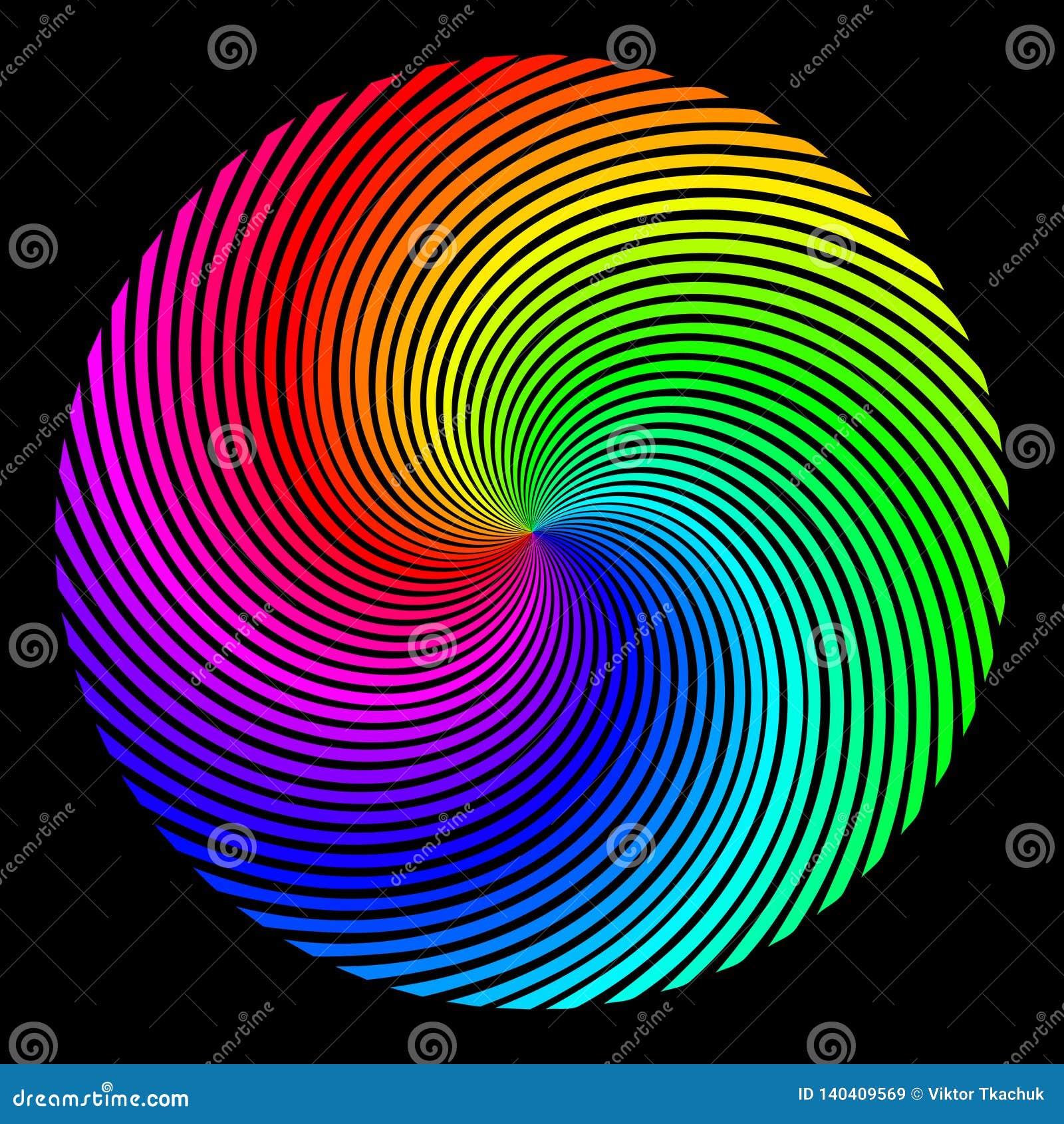 Achtergrond in de vorm van een gekleurd gebied van stralen die over een spiraal worden getold