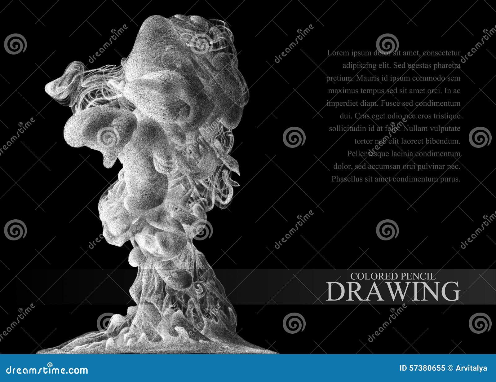 Achtergrond met abstracte die wolk van inkt met de hand met gekleurd wordt getrokken