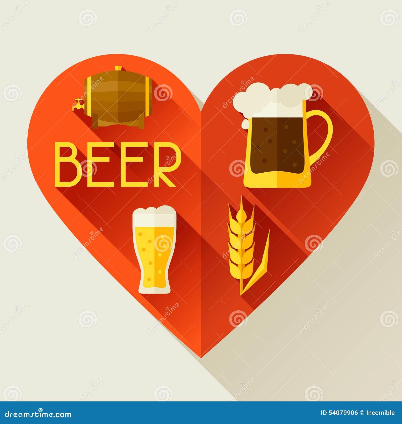Achtergrond met bierpictogrammen en voorwerpen in vlakte