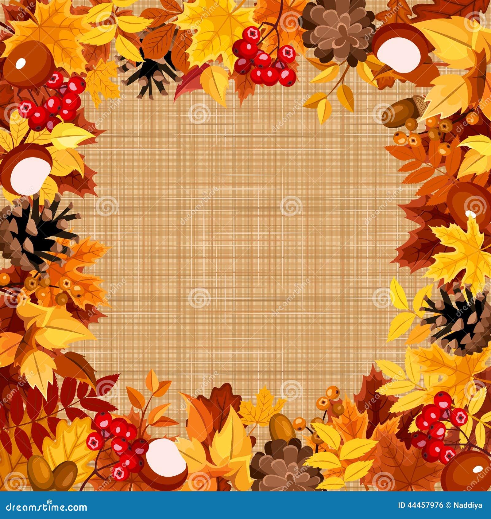 Achtergrond Met De Herfst Kleurrijke Bladeren Op Een Het