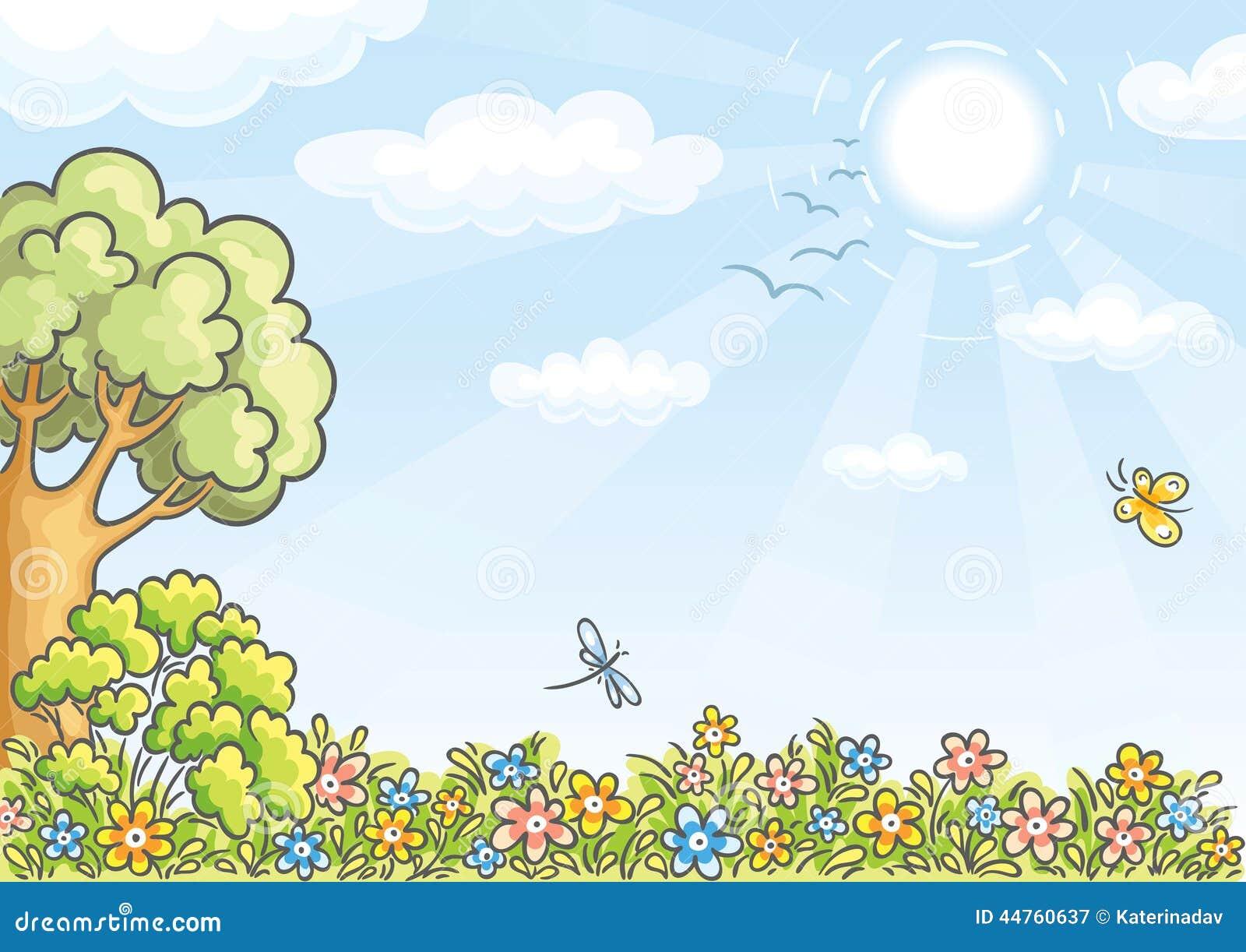 Achtergrond met een boom en bloemen