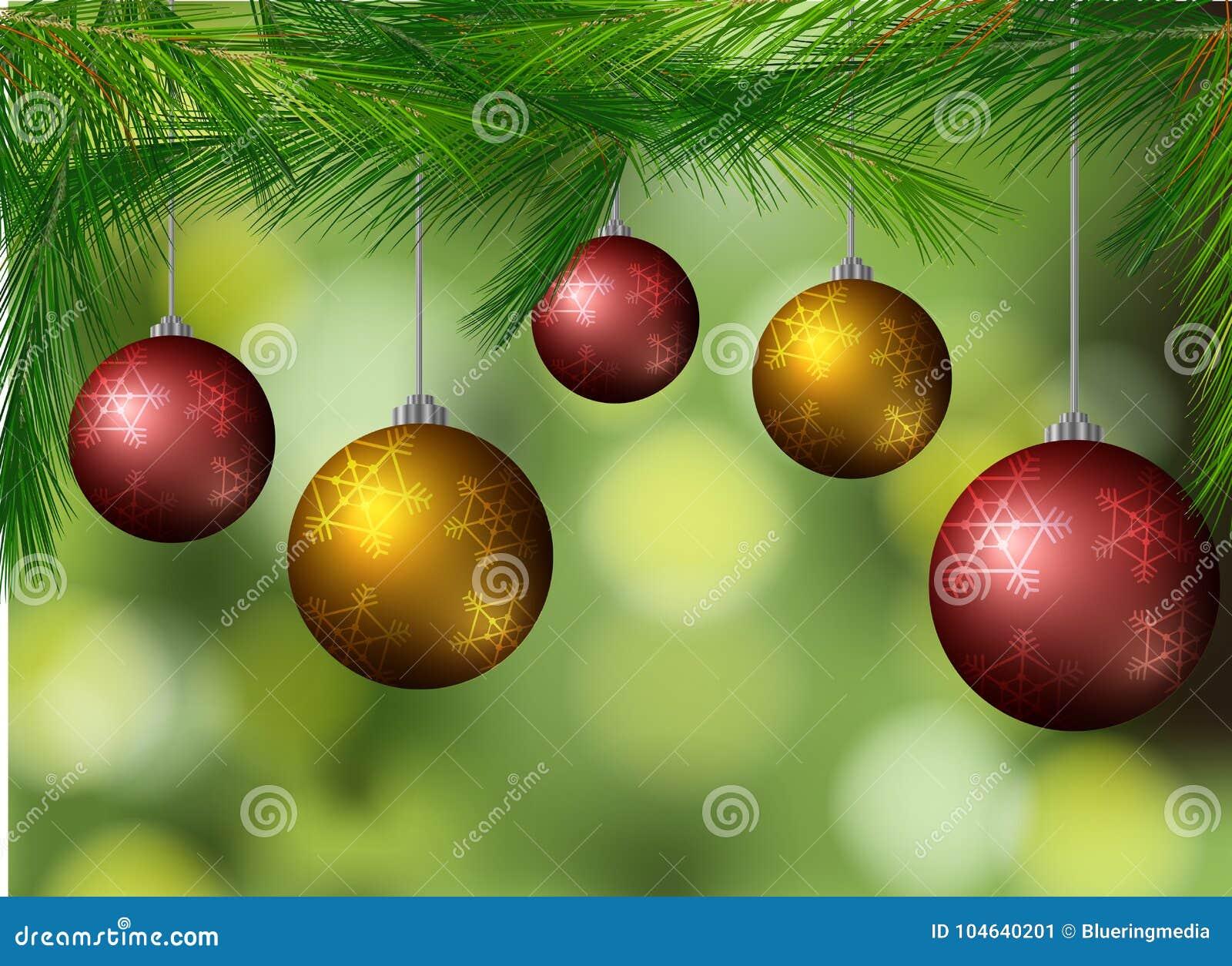 Download Achtergrond Met Kerstmisballen Op De Boom Vector Illustratie - Illustratie bestaande uit malplaatje, klem: 104640201