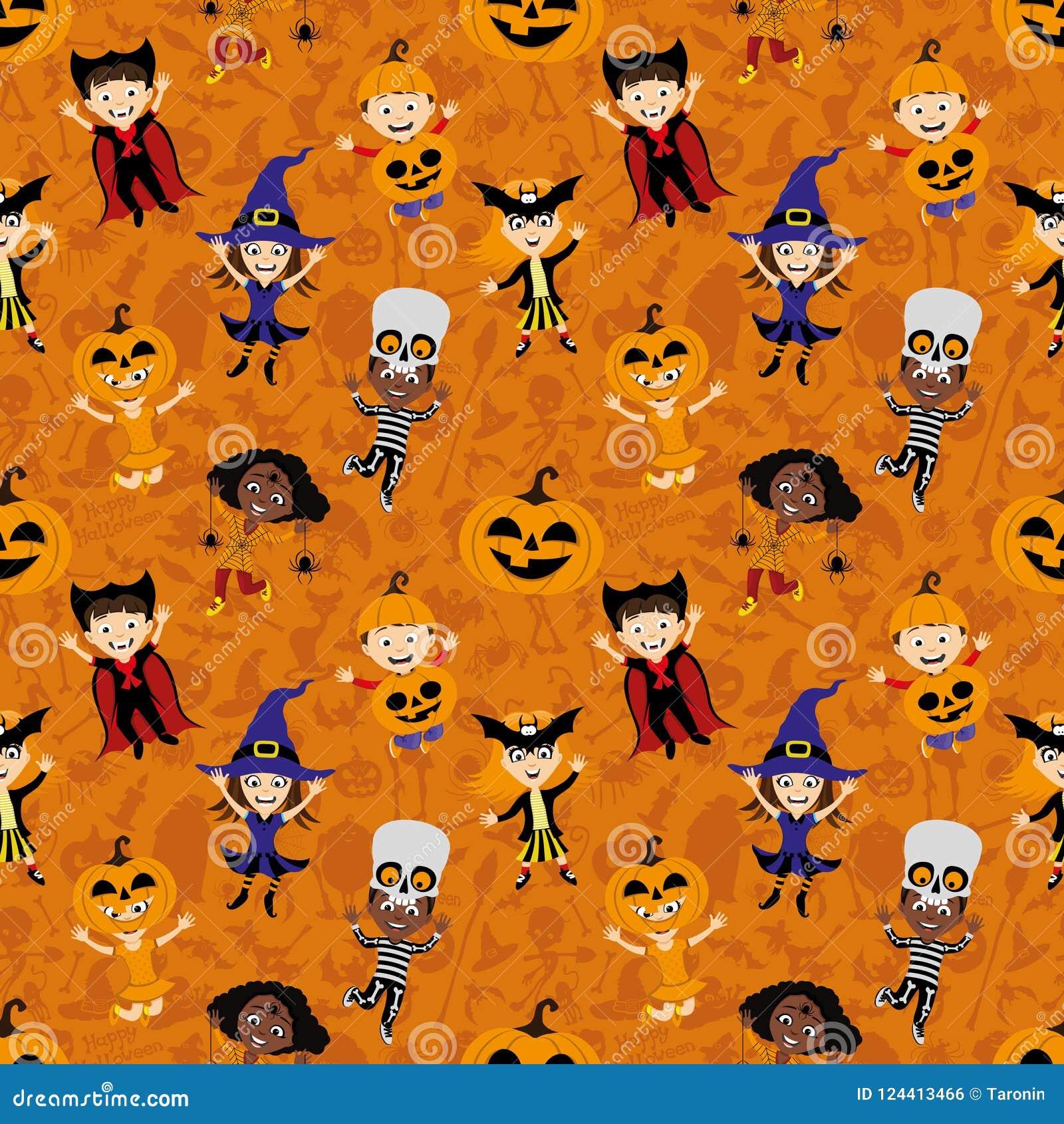 Achtergrond met kinderen in kostuums voor Halloween