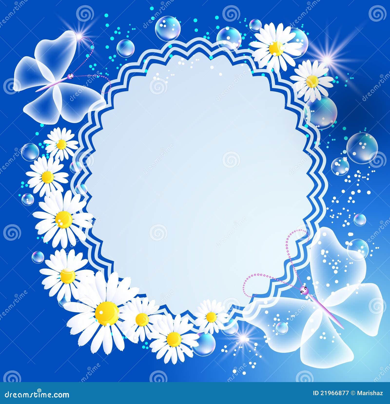 Achtergrond met madeliefje, vlinder en frame