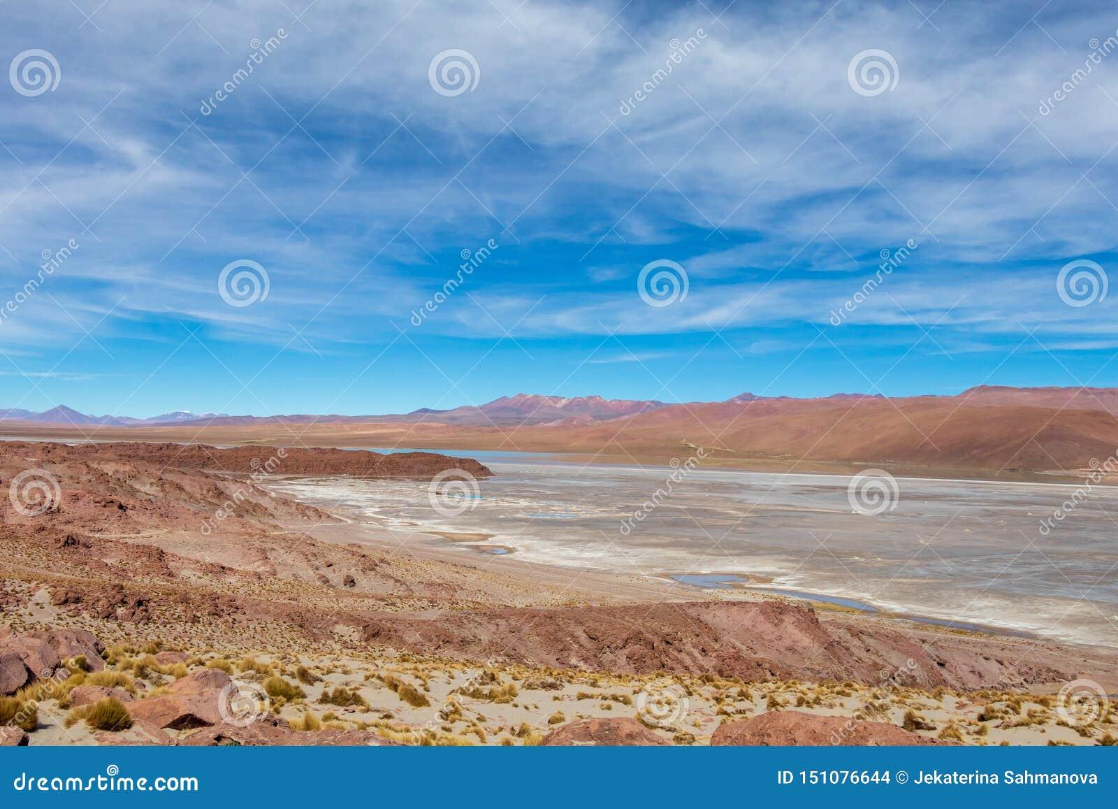 Achtergrond met onvruchtbaar woestijnlandschap in de Boliviaanse Andes, in het Natuurreservaat Edoardo Avaroa