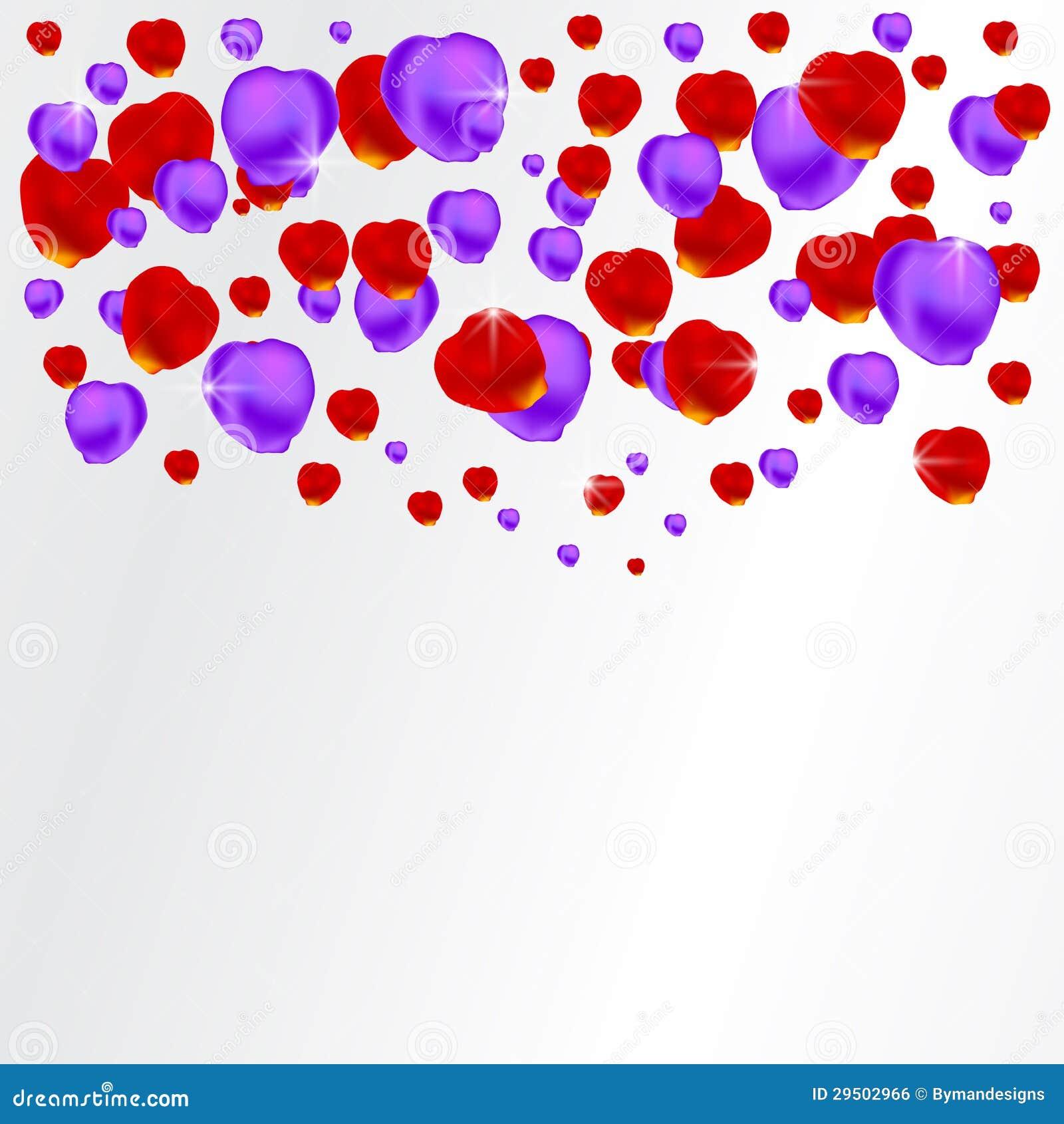 Achtergrond met rode en purpere bloemblaadjes