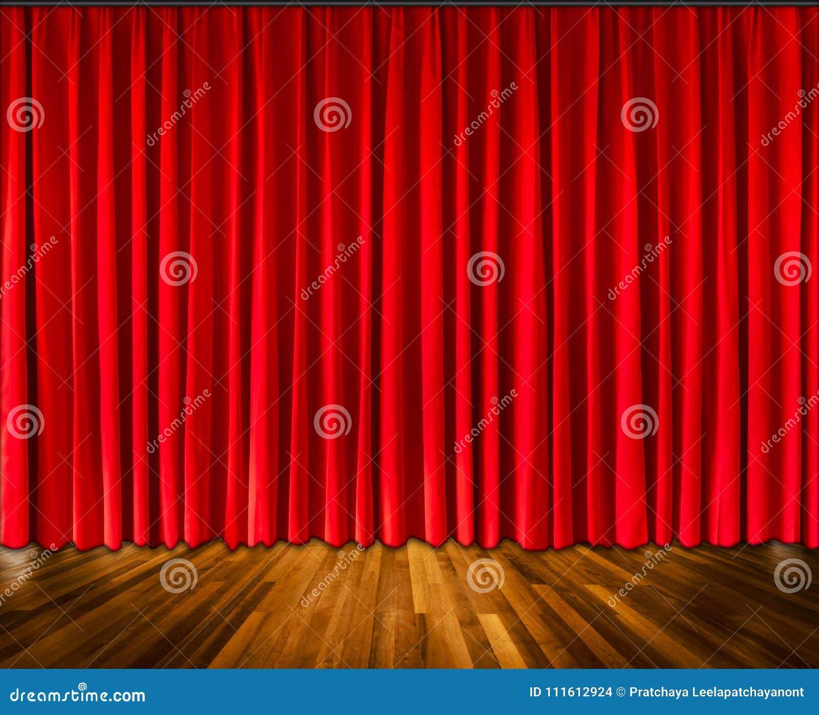 Achtergrond met rood gordijn en houten vloer binnenlandse achtergrond, Binnenlands malplaatje voor productvertoning