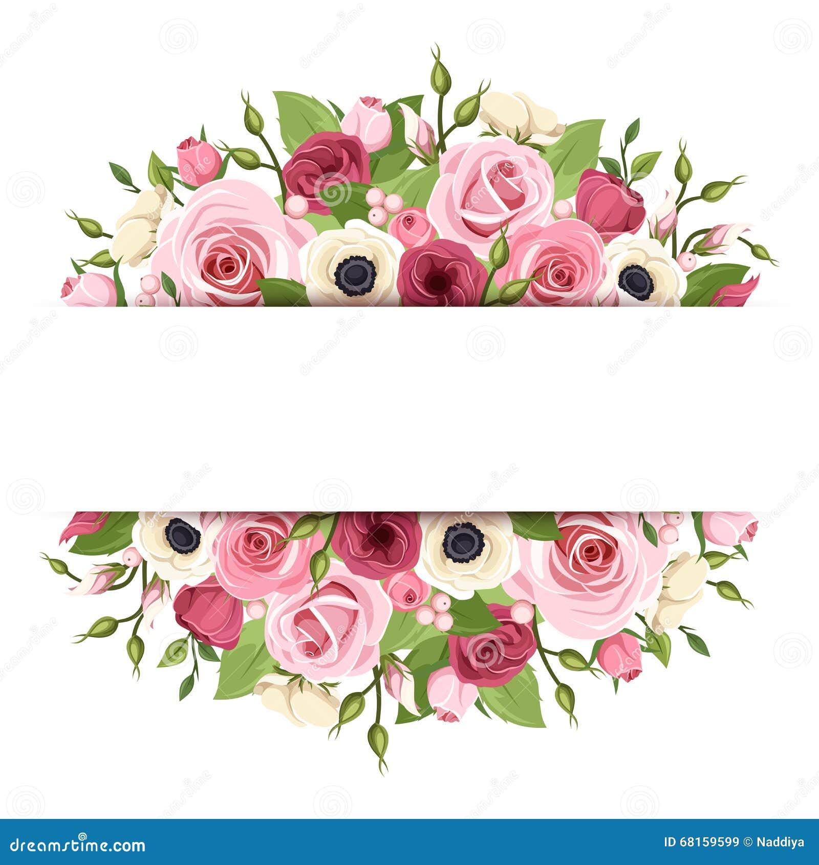 Achtergrond met roze, rode en witte bloemen Vector eps-10