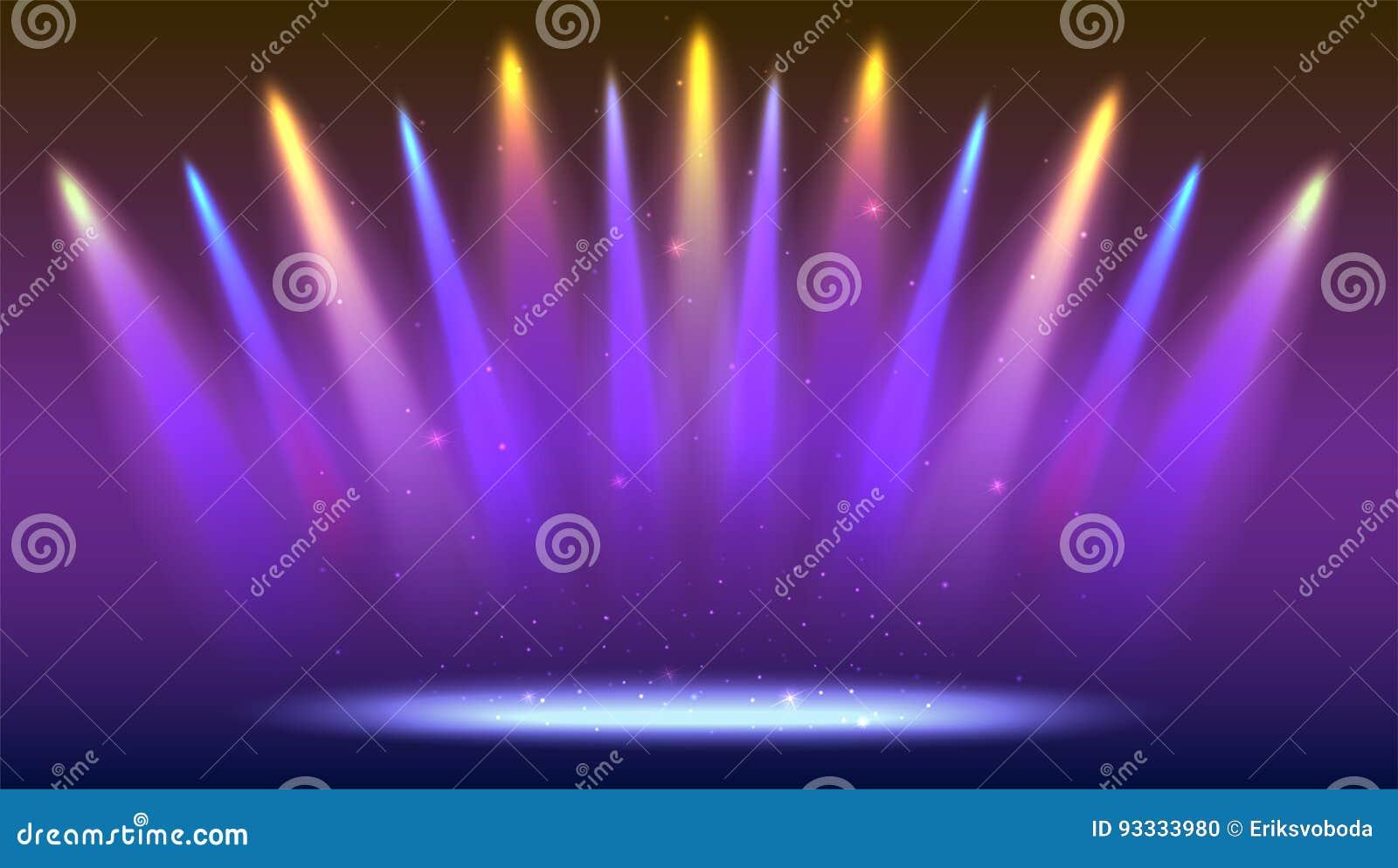 Achtergrond Met Stralen Van Licht Van De Gekleurde Schijnwerpers ...
