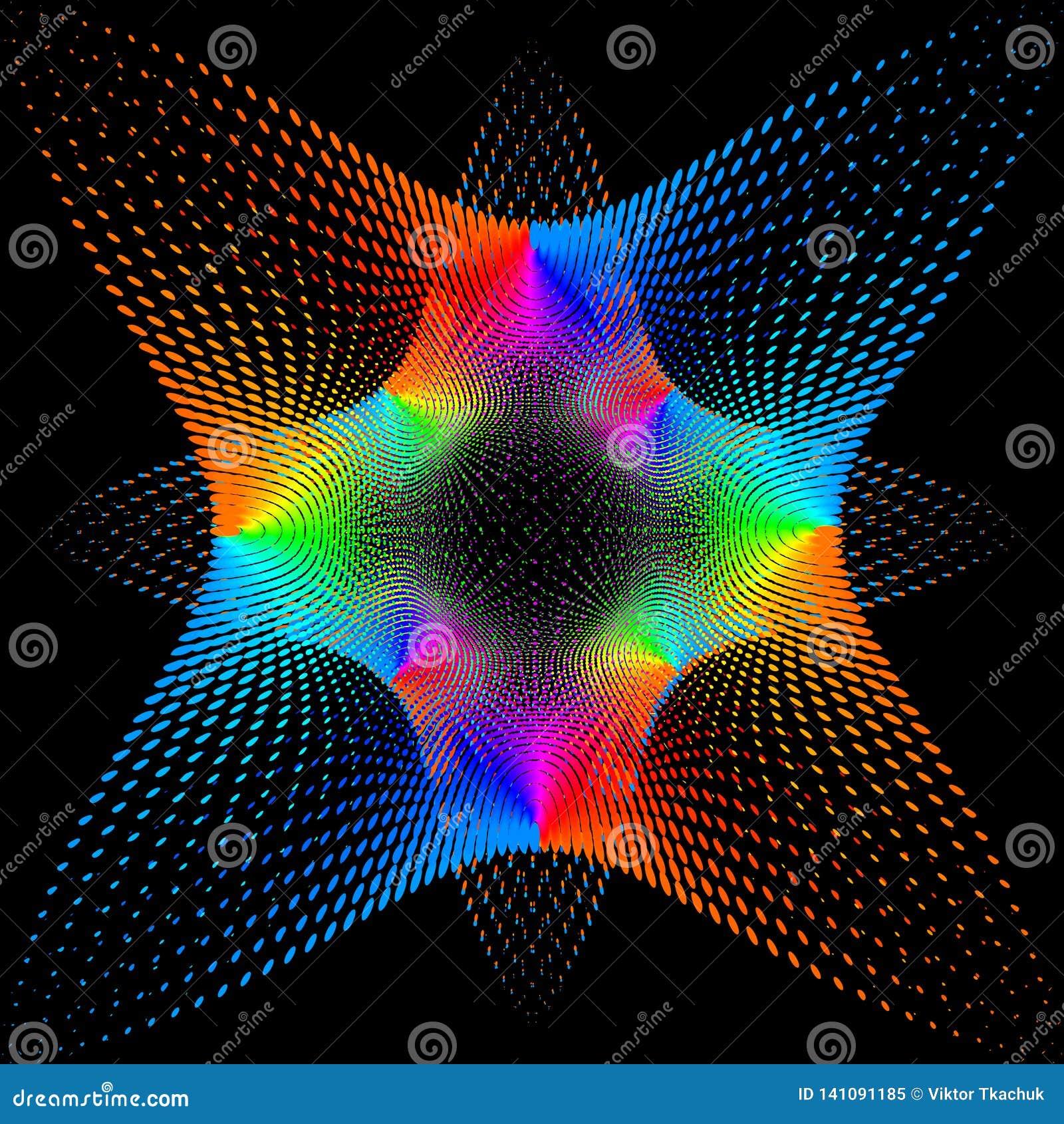Achtergrond, textuur, abstractie De kleurenvlek een ster of een bloem is geïsoleerd op zwarte achtergrond