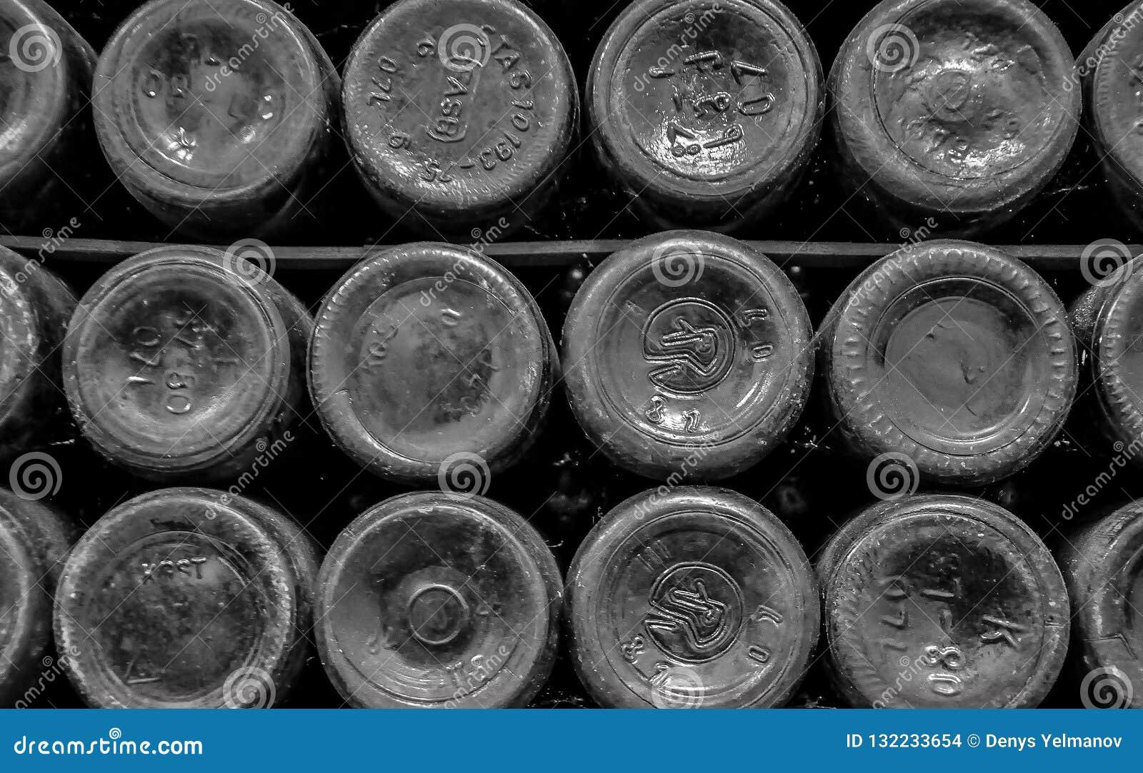 Achtergrond van de bodems van flessen