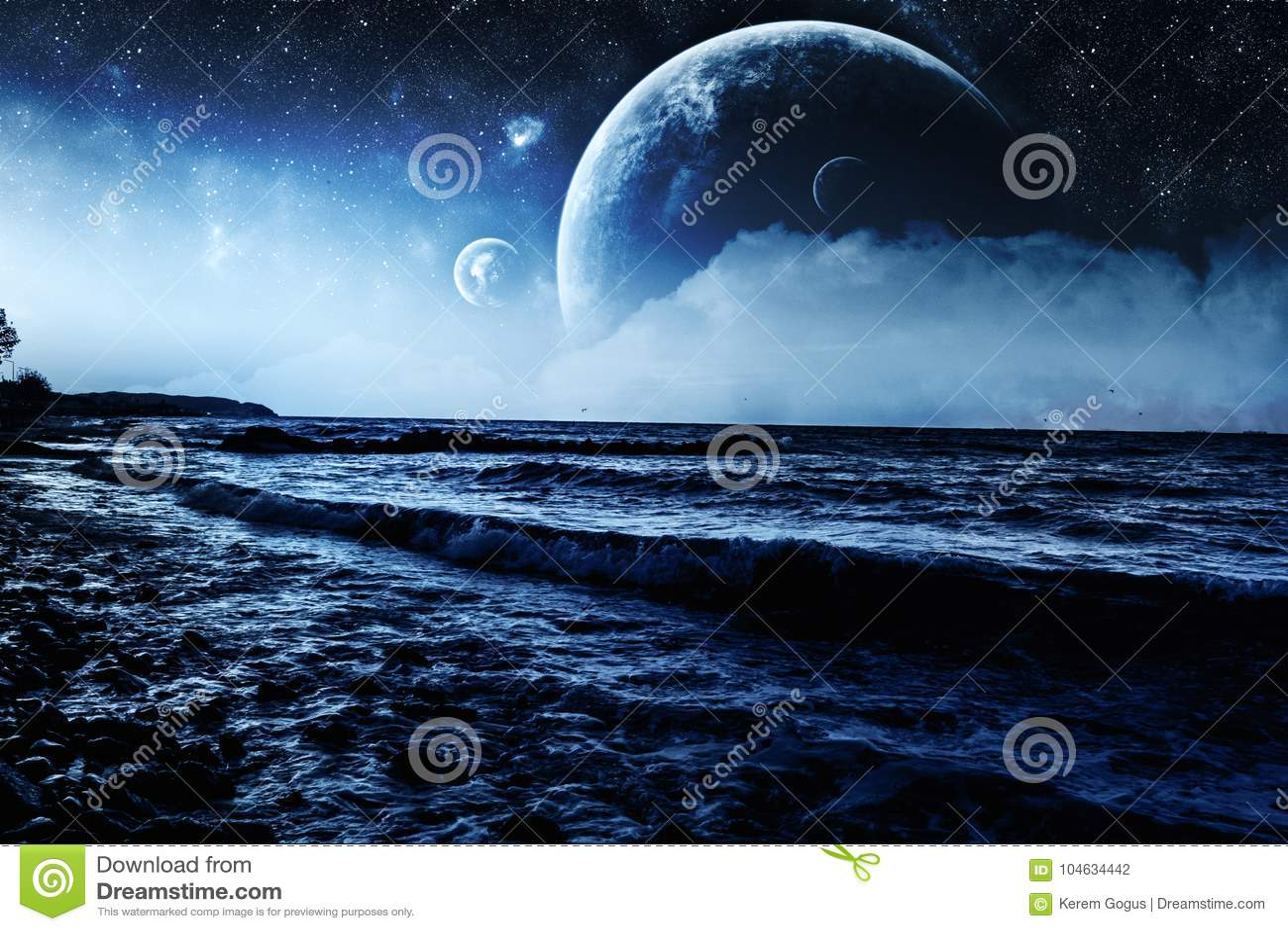 Download Achtergrond Van De Fantasie De Golvende Blauwe Oever Stock Illustratie - Illustratie bestaande uit milieu, blauw: 104634442