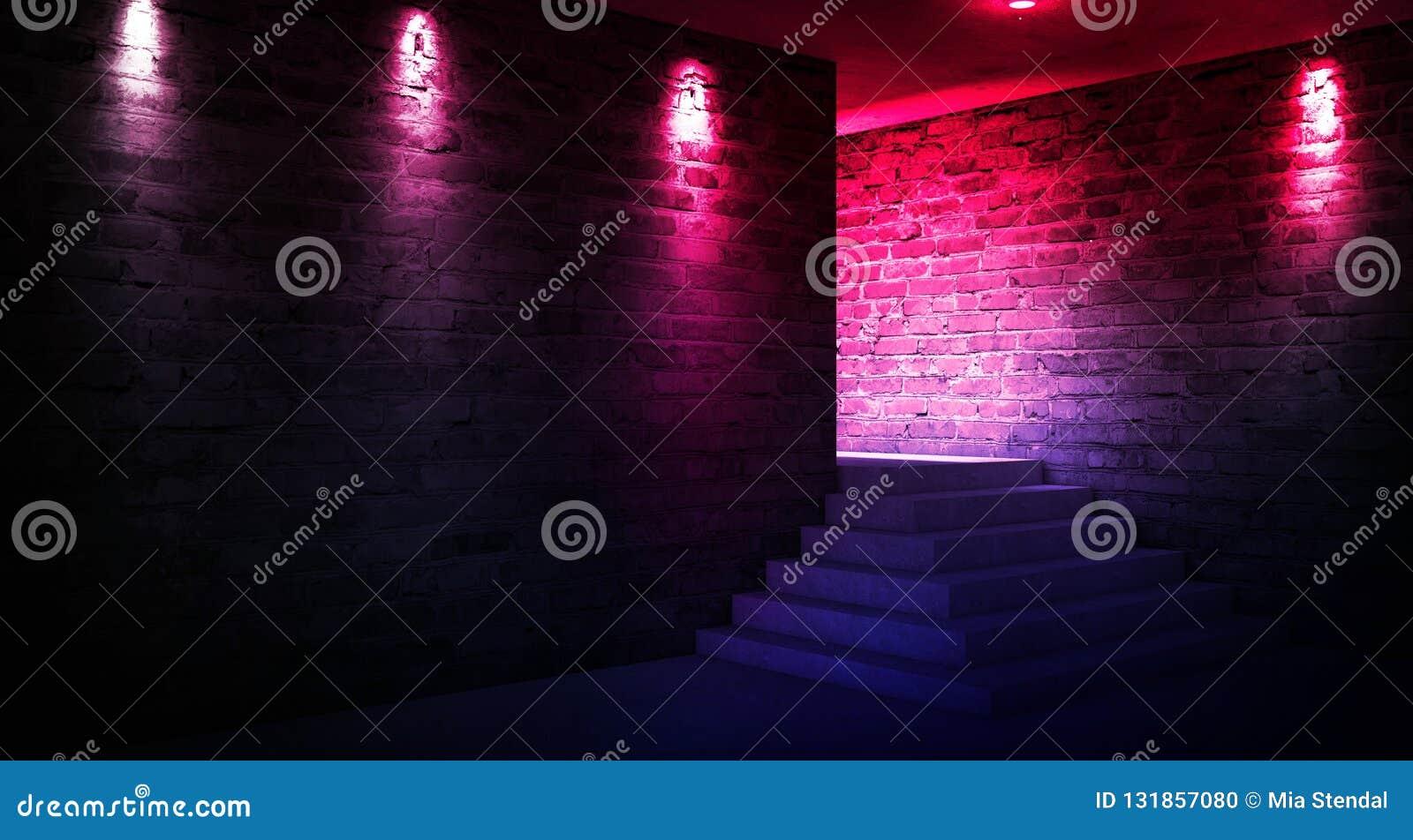 Achtergrond van een lege zwarte gang met neonlicht Abstracte achtergrond met lijnen en gloed