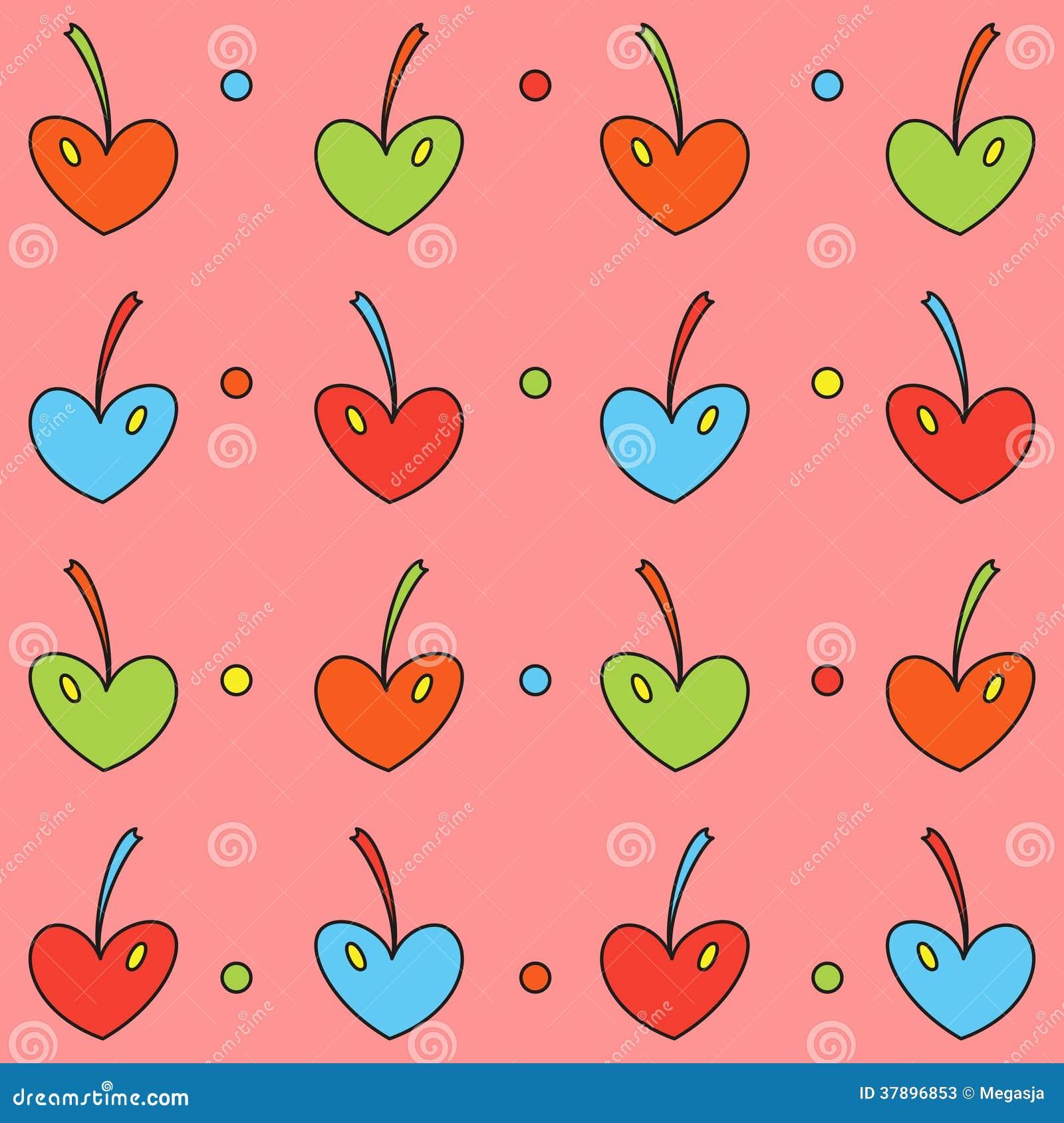 Achtergrond van gekleurde kersenharten