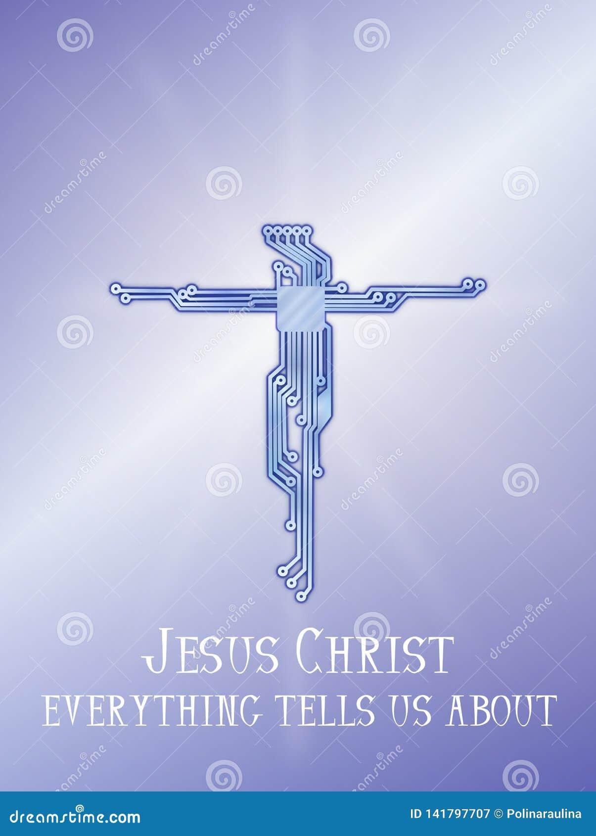 Achtergrond van het de krings blauwe diagram van Jesus Christ de dwars