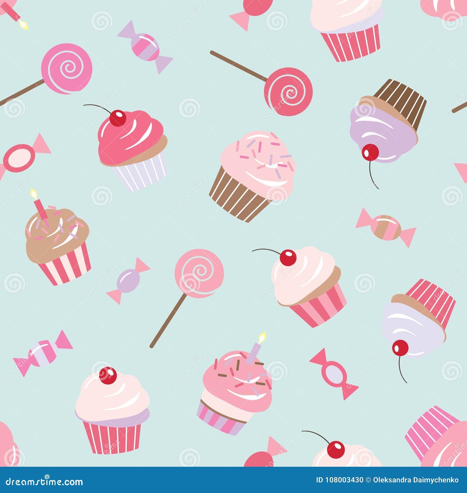 Achtergrond van het verjaardags de naadloze patroon met cupcakes, snoepjes, suikergoed