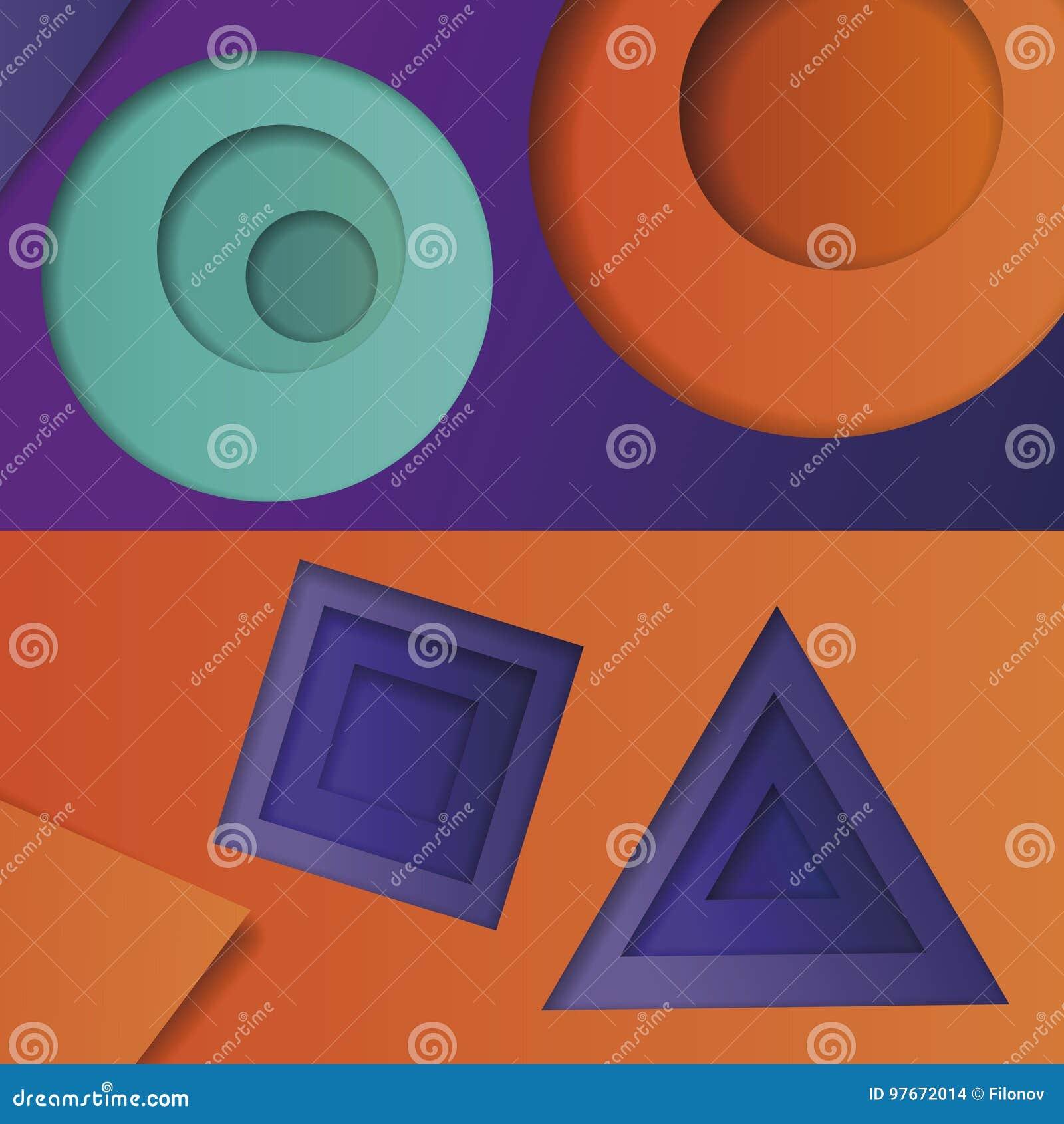 Achtergrond van multicolored abstracte vector in de stijl van materieel ontwerp met geometrische vormen van verschillende grootte