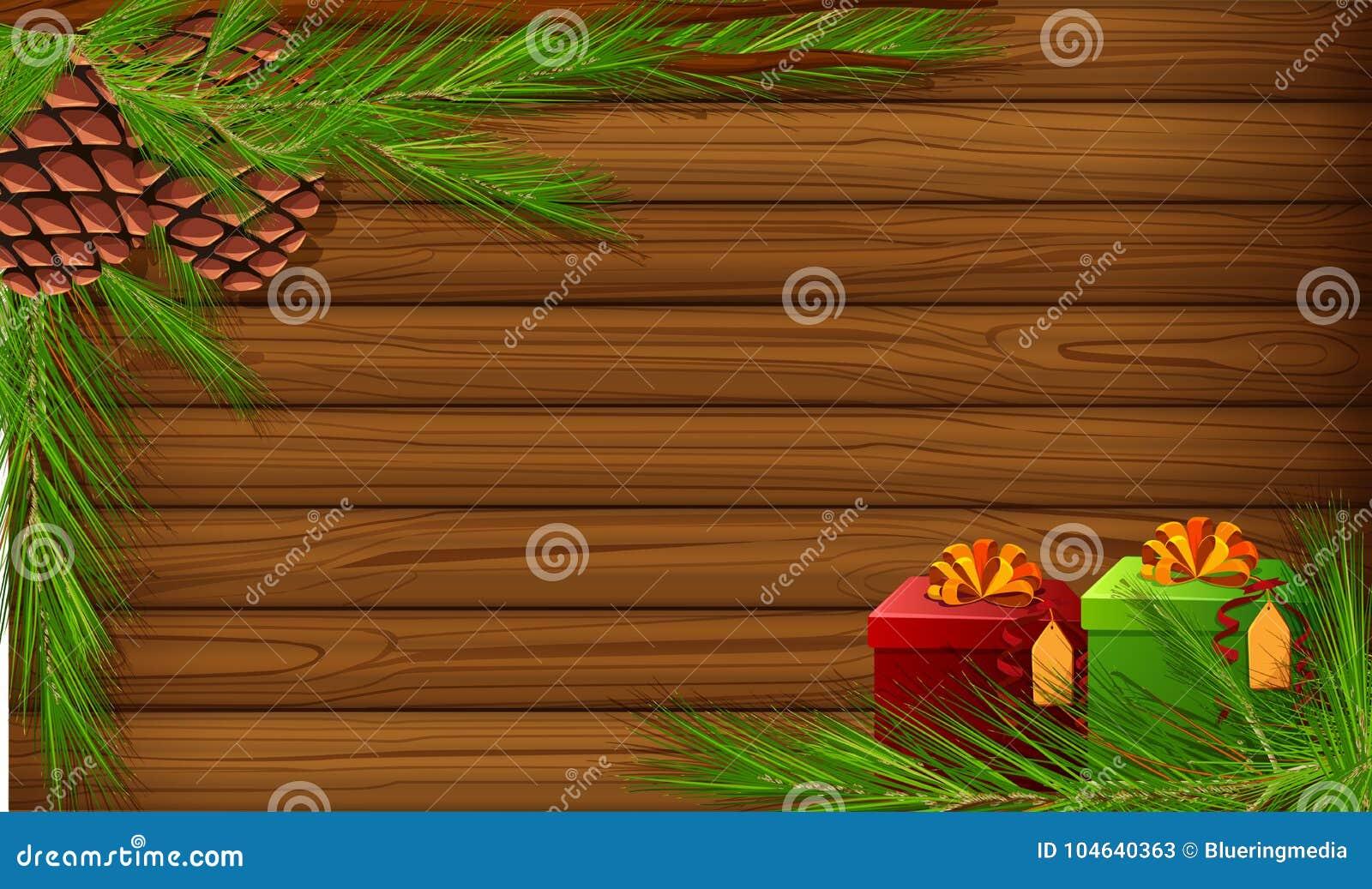 Download Achtergrondmalplaatje Met Pinecones En Huidige Dozen Vector Illustratie - Illustratie bestaande uit viering, grafisch: 104640363