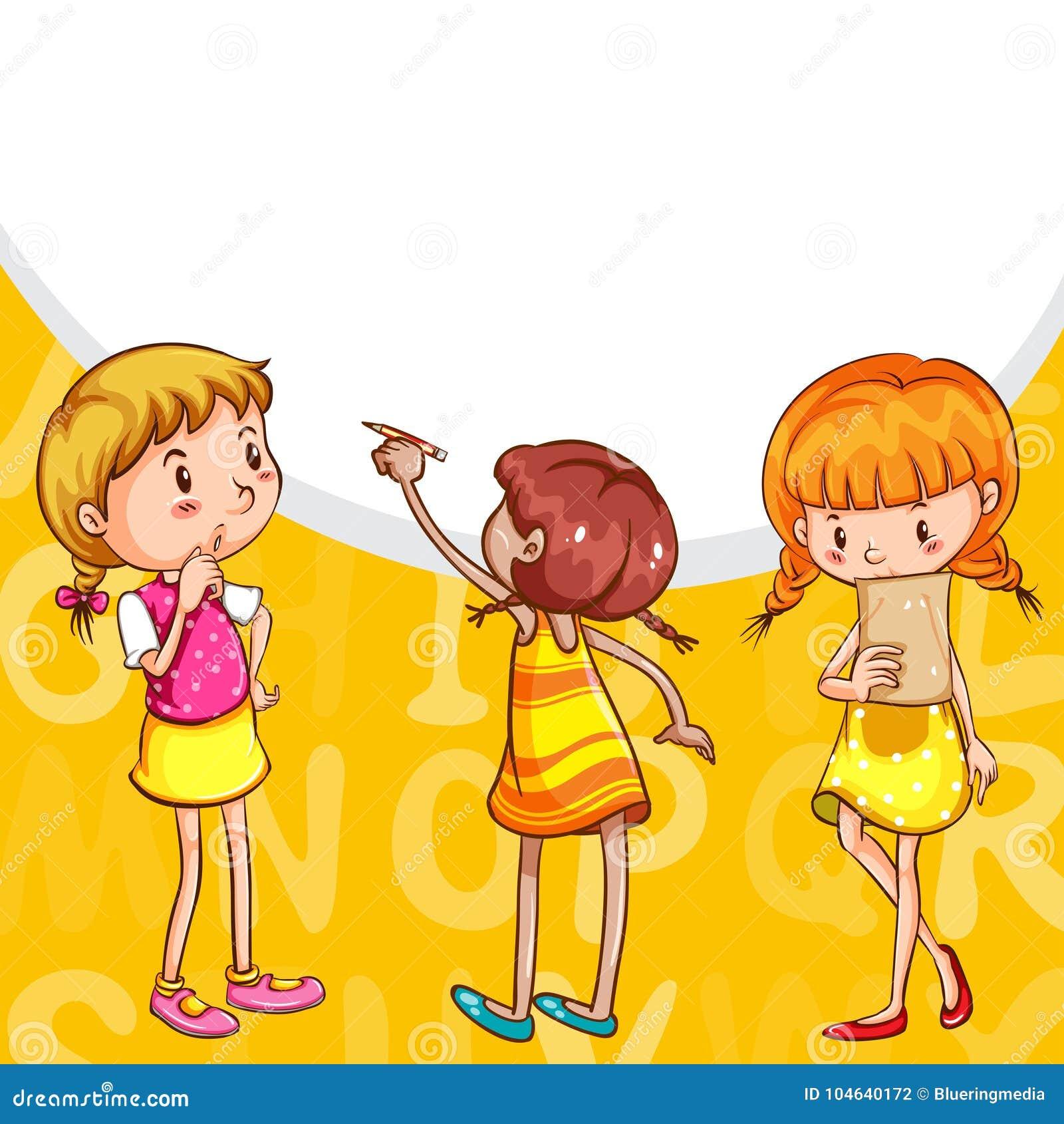 Download Achtergrondontwerp Met En Meisjes Die Lezen Schrijven Vector Illustratie - Illustratie bestaande uit tekening, banner: 104640172