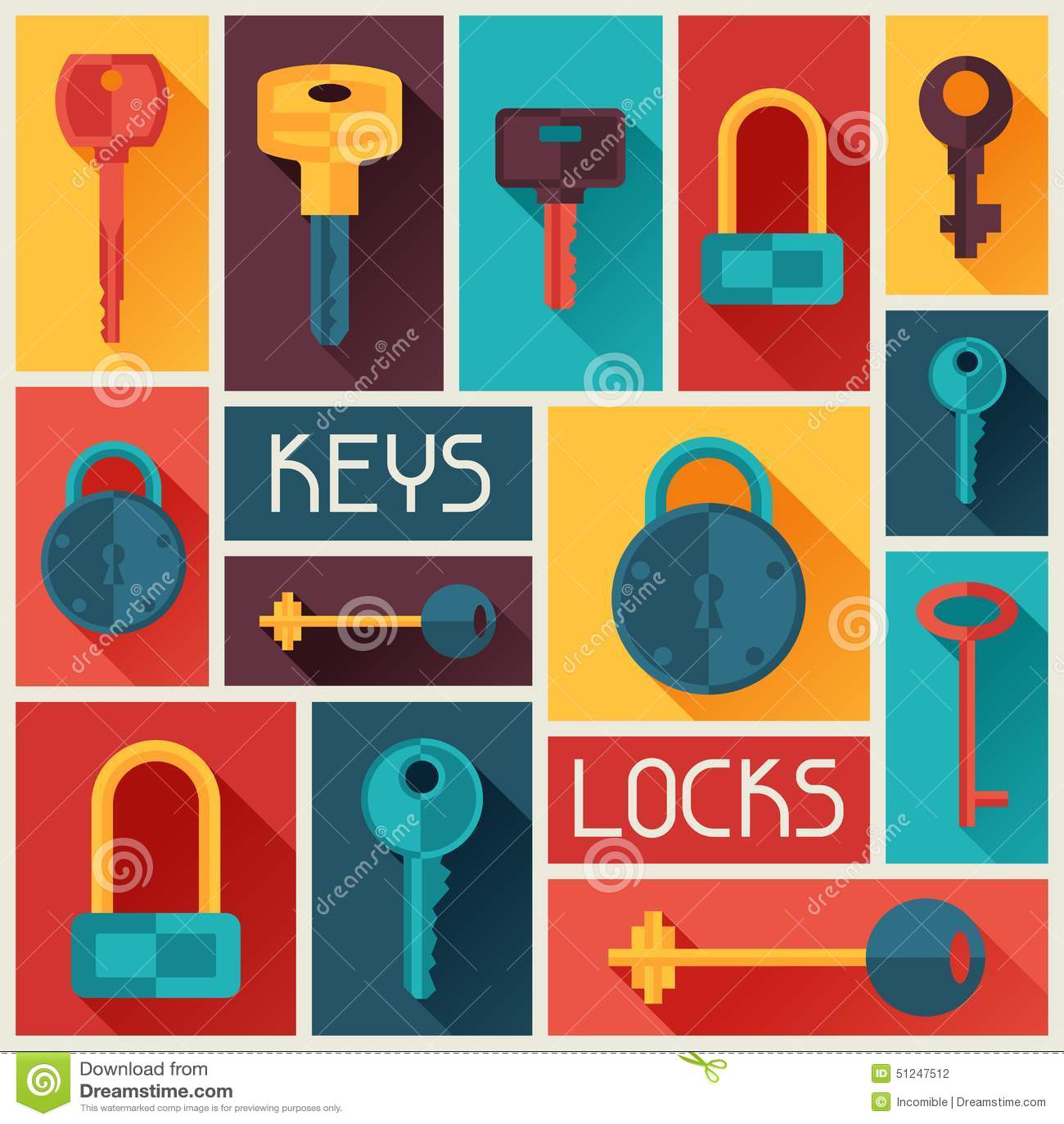 Achtergrondontwerp met sloten en sleutelspictogrammen