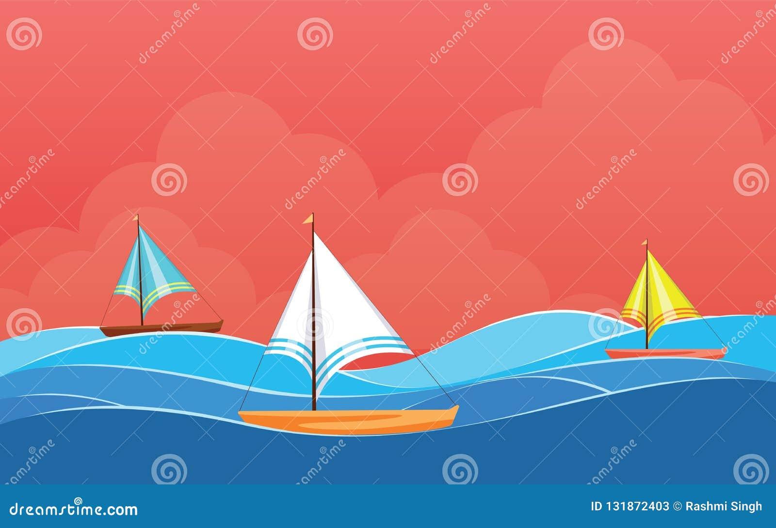Achtergrondontwerp met Varende boot, de vector van het Desktopbehang