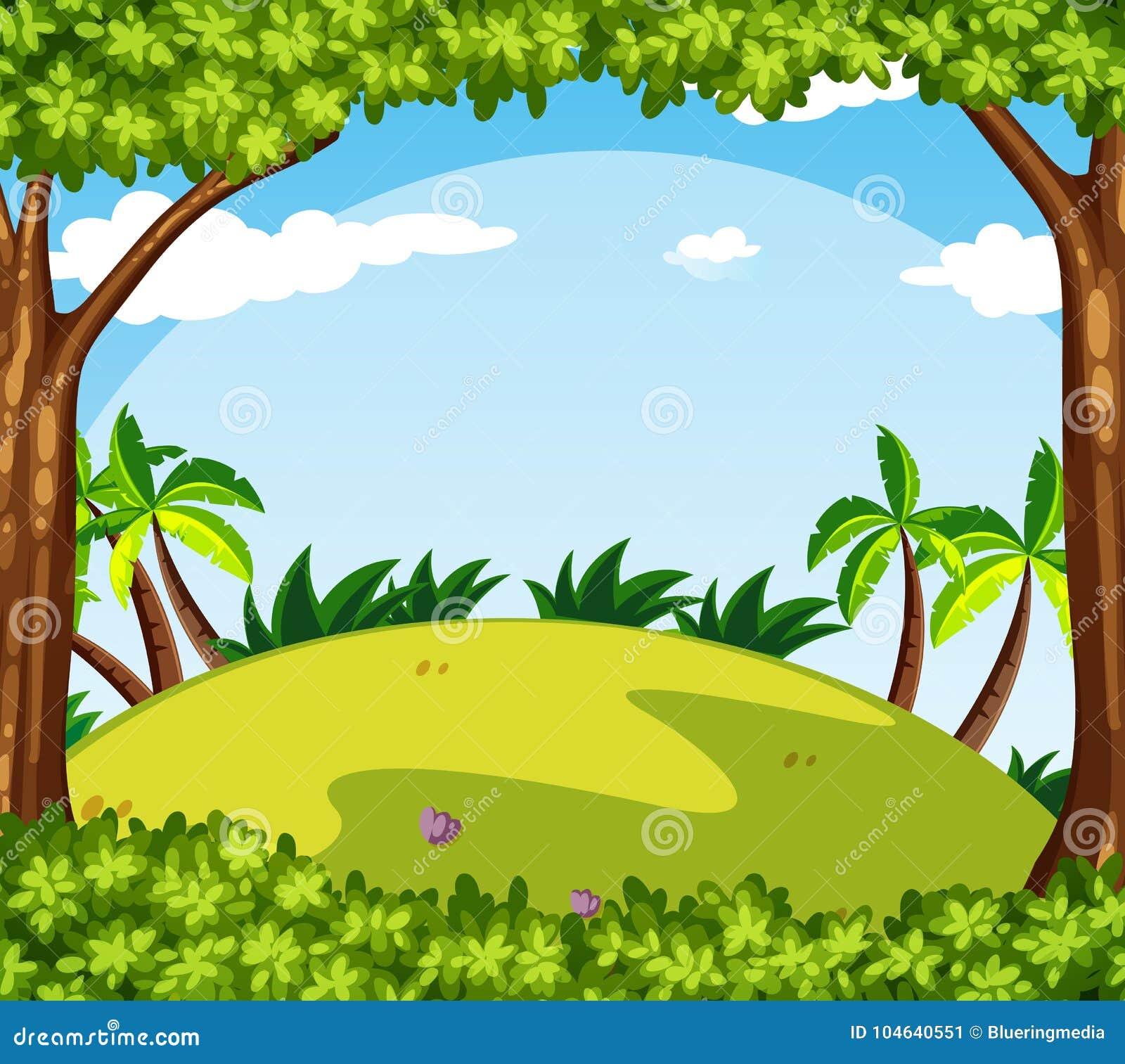 Download Achtergrondscène Met Bomen Op De Heuvel Vector Illustratie - Illustratie bestaande uit scène, illustratie: 104640551