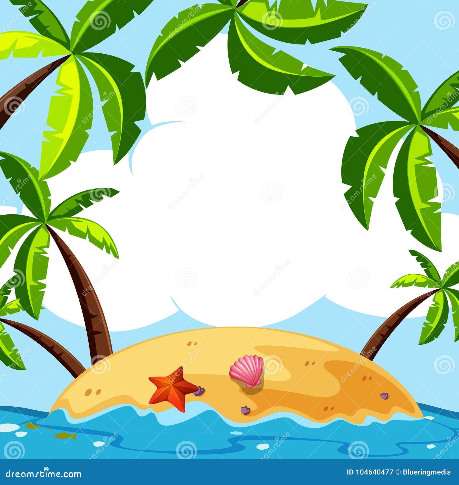 Download Achtergrondscène Met Kokospalmen Op Eiland Vector Illustratie - Illustratie bestaande uit landschap, klem: 104640477