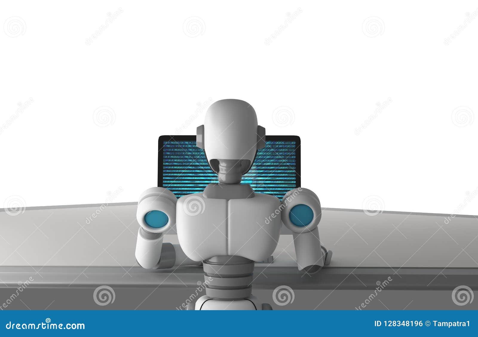 Achtermening van robot die een computer met de binaire code van het gegevensaantal met behulp van