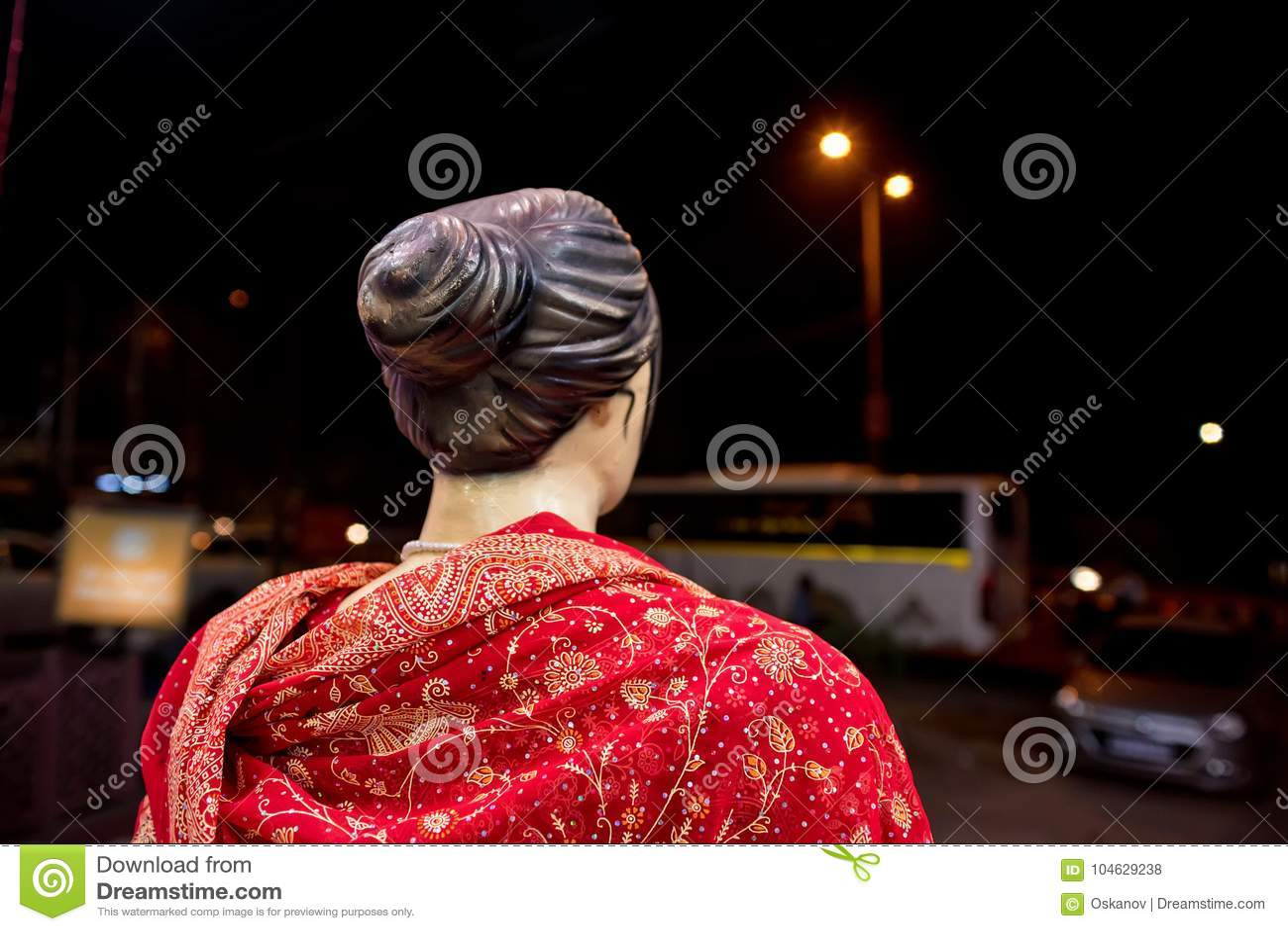 Download Achtermeningsledenpop Die Rode Sari Dragen Stock Foto - Afbeelding bestaande uit aantrekkelijk, buiten: 104629238