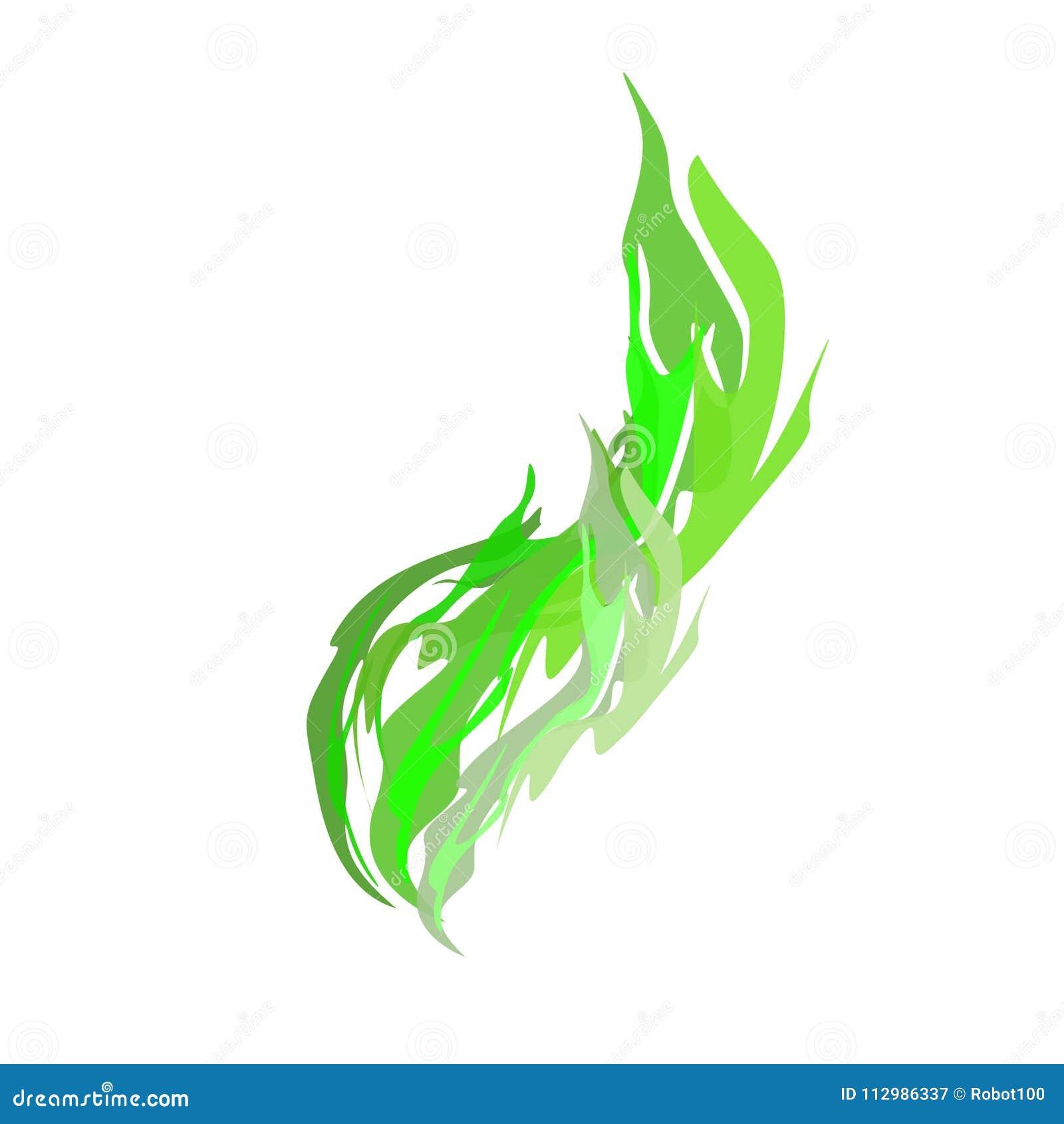 Acidic smoke Green isolated. Chemical evaporation. Vector illustration