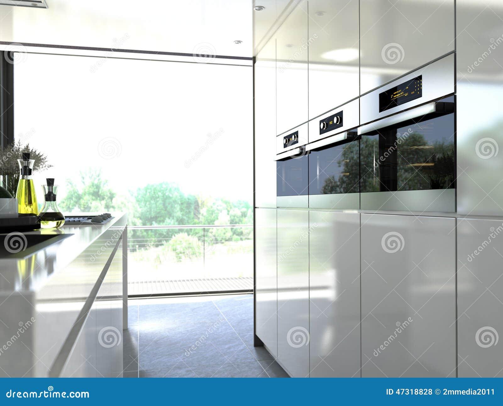 acier moderne de four de cuisine incorporé à une unité 3d