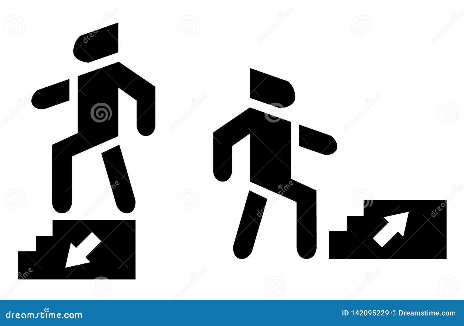 Acima de e para baixo seta Use o ícone do fundo da escadaria
