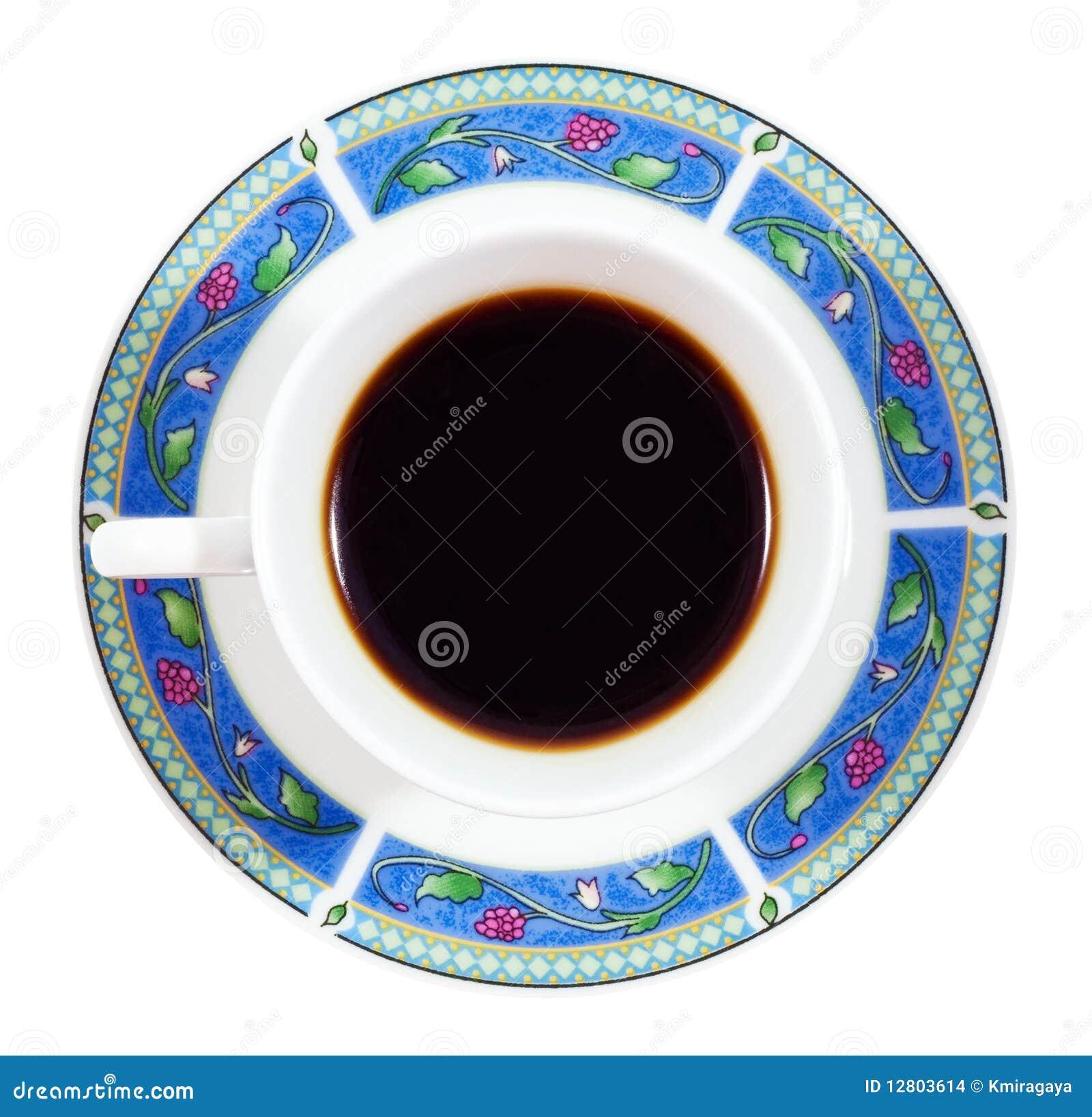 Acima do café em uma placa colorida isolada no branco