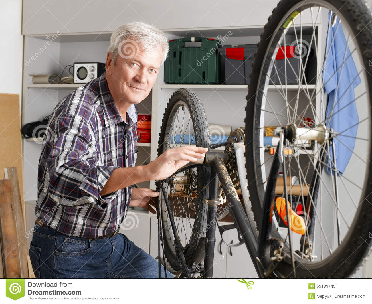 Download Acitve senior man working stock image. Image of person - 55189745