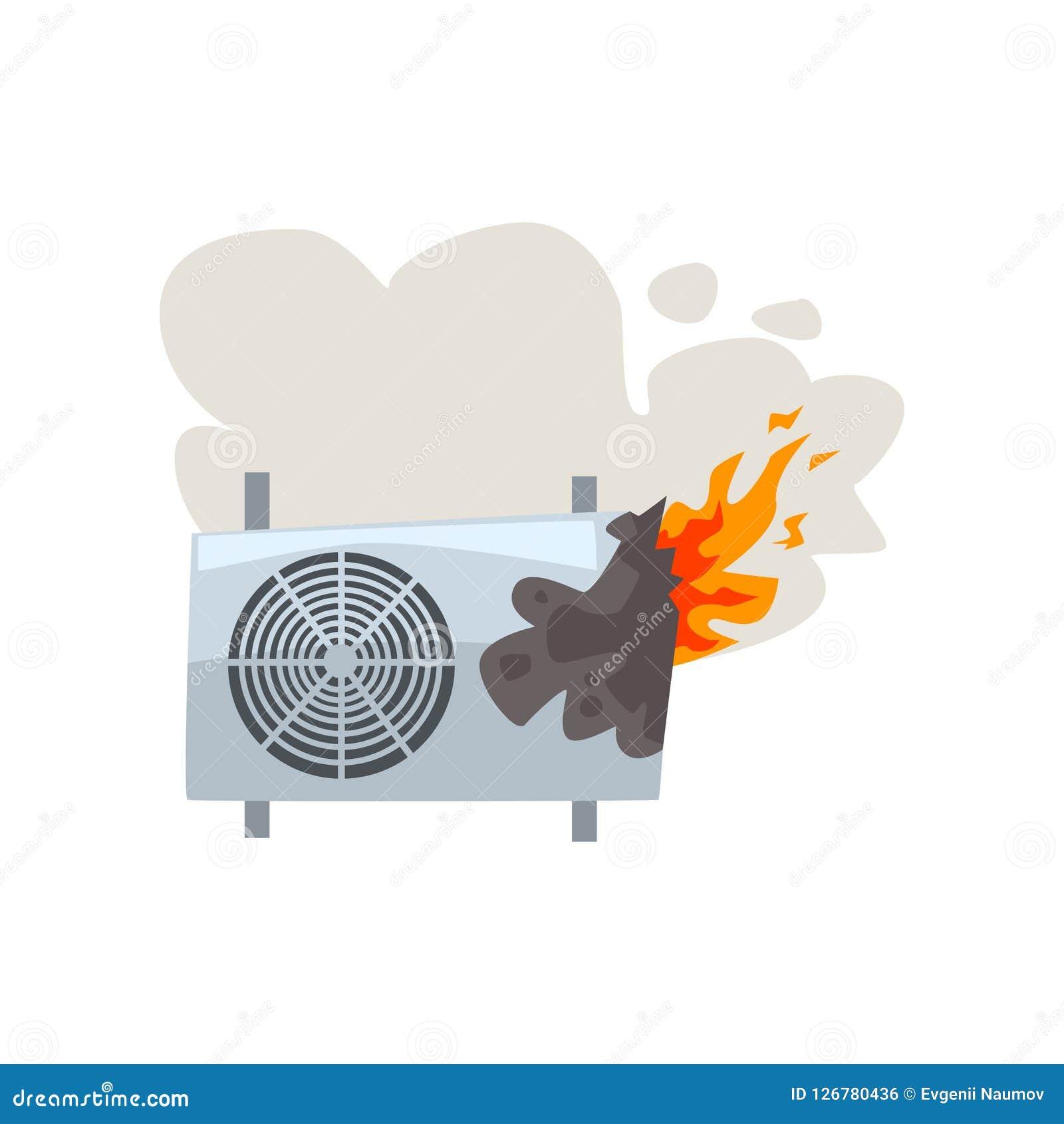 Acondicionador de aire ardiente quebrado, ejemplo dañado del vector de la historieta del aparato electrodoméstico en un fondo bla