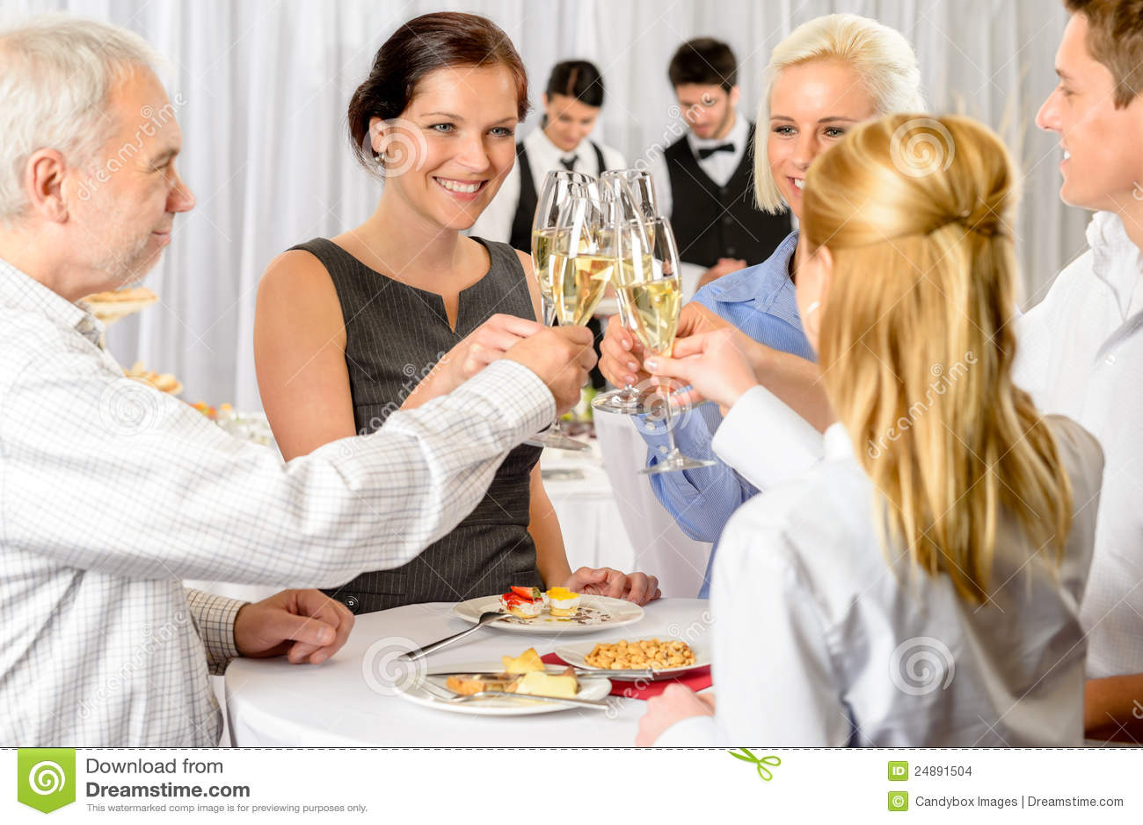 Acontecimiento de la compañía del champán de la tostada de los socios comerciales