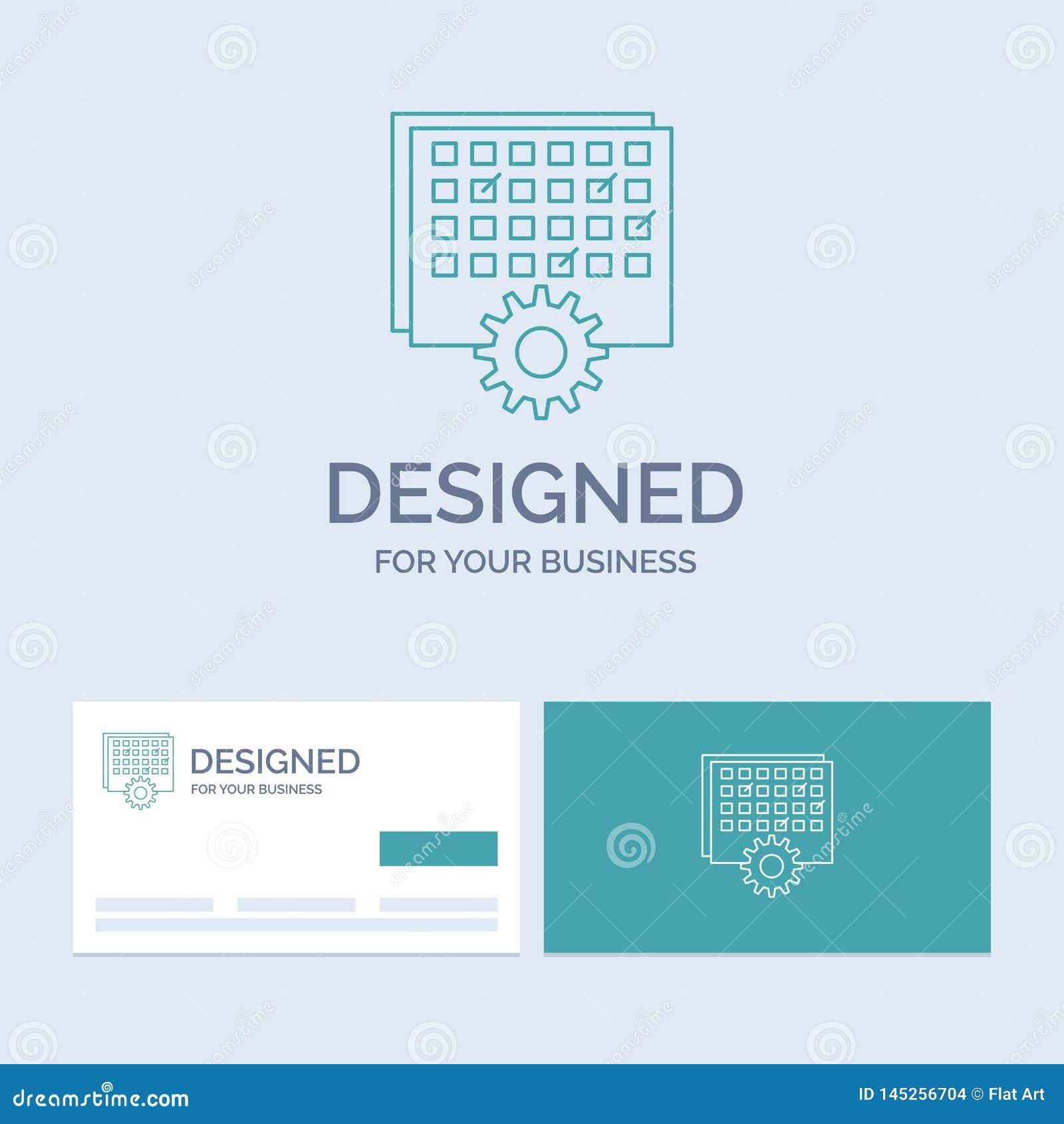 Acontecimiento, gestión, procesando, horario, negocio Logo Line Icon Symbol de la sincronización para su negocio Tarjetas de visi