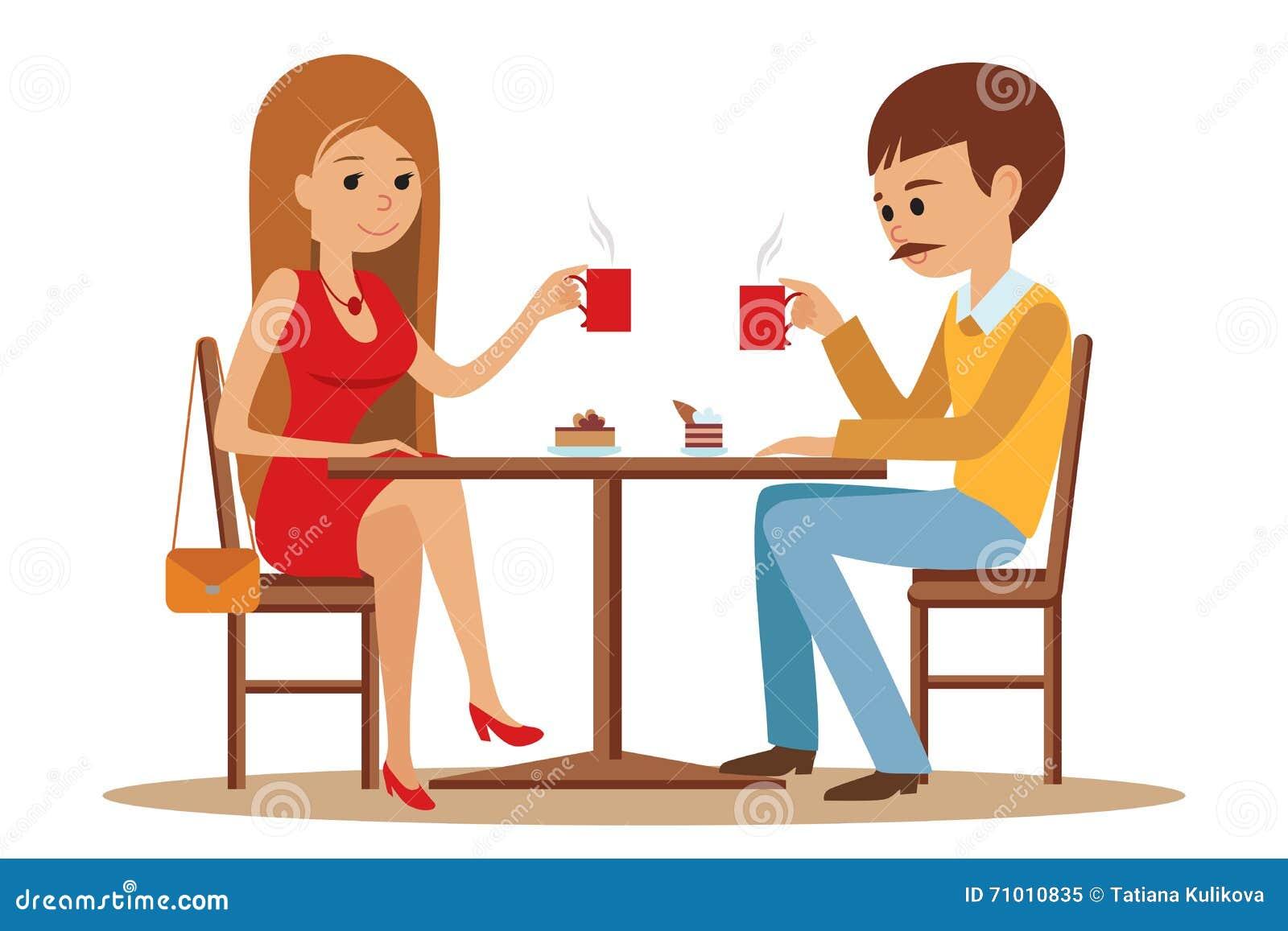 Acople o assento no café, flertar e falar sobre algo