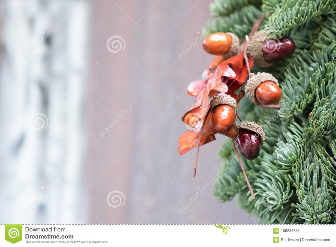 Acorn Fir Tree Wreath On Wooden Background Stock Image Image Of