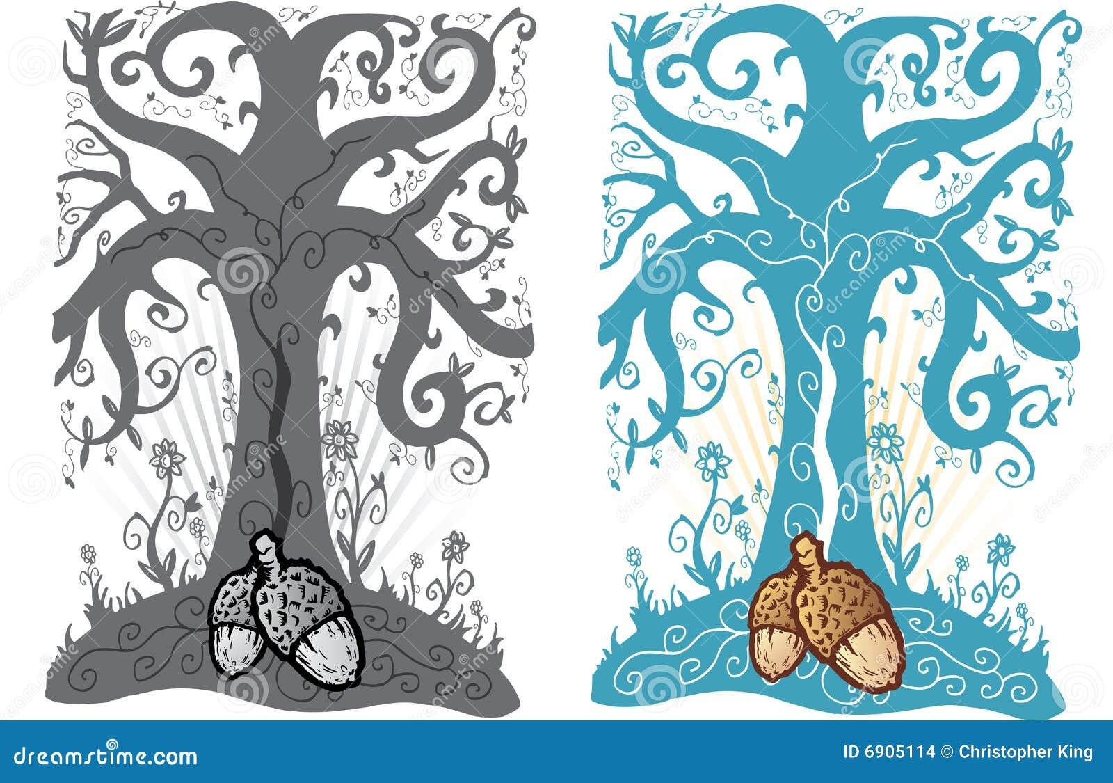 Acorn Ilustracyjny życia Stylu Tatuażu Drzewo Ilustracja