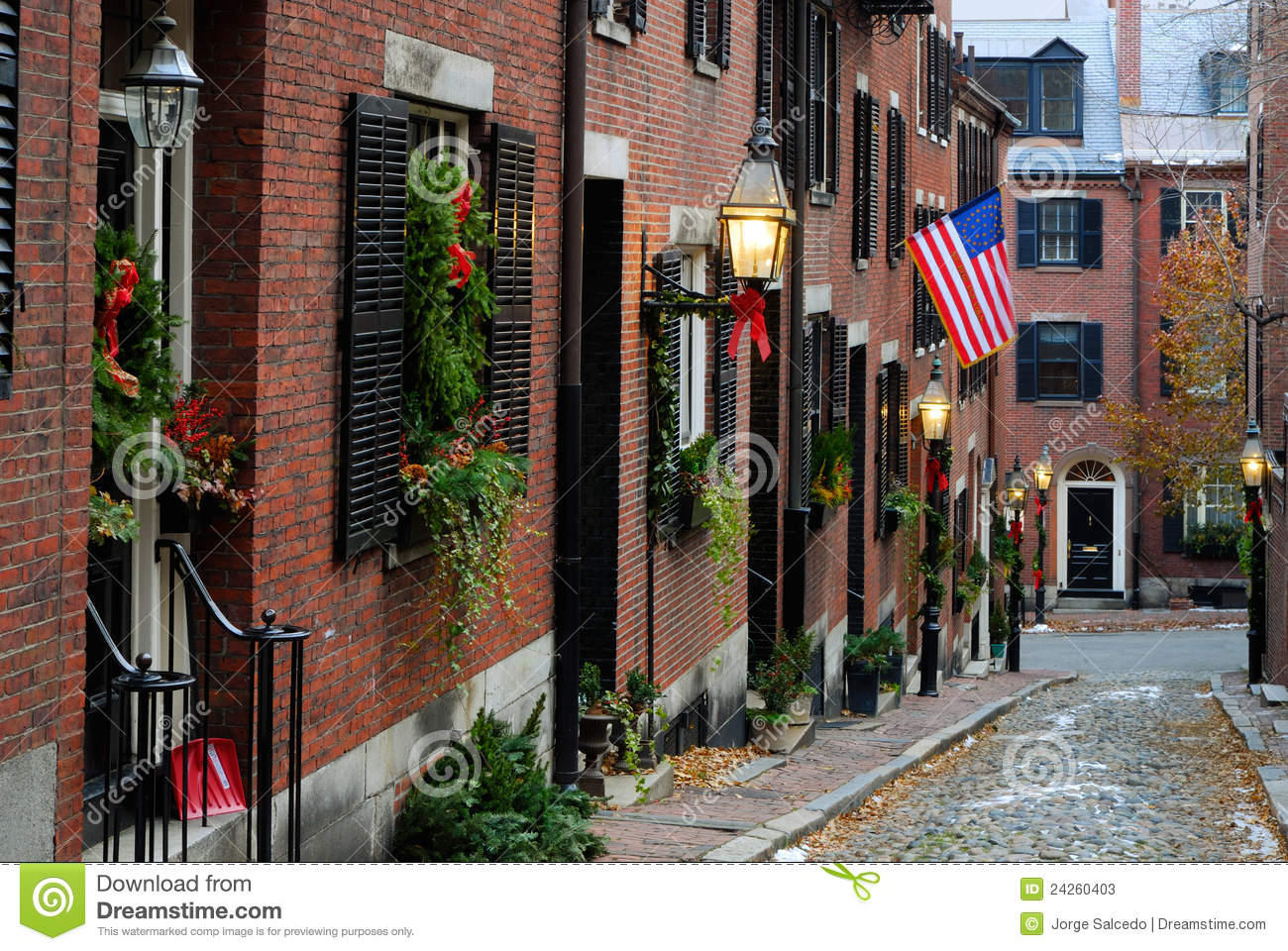Acorn Street around Christmas in Boston, Massachusetts.