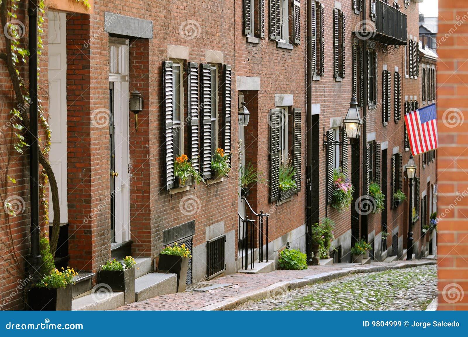Acorn Street In Boston Beacon Hill Stock Image - Image of city ...