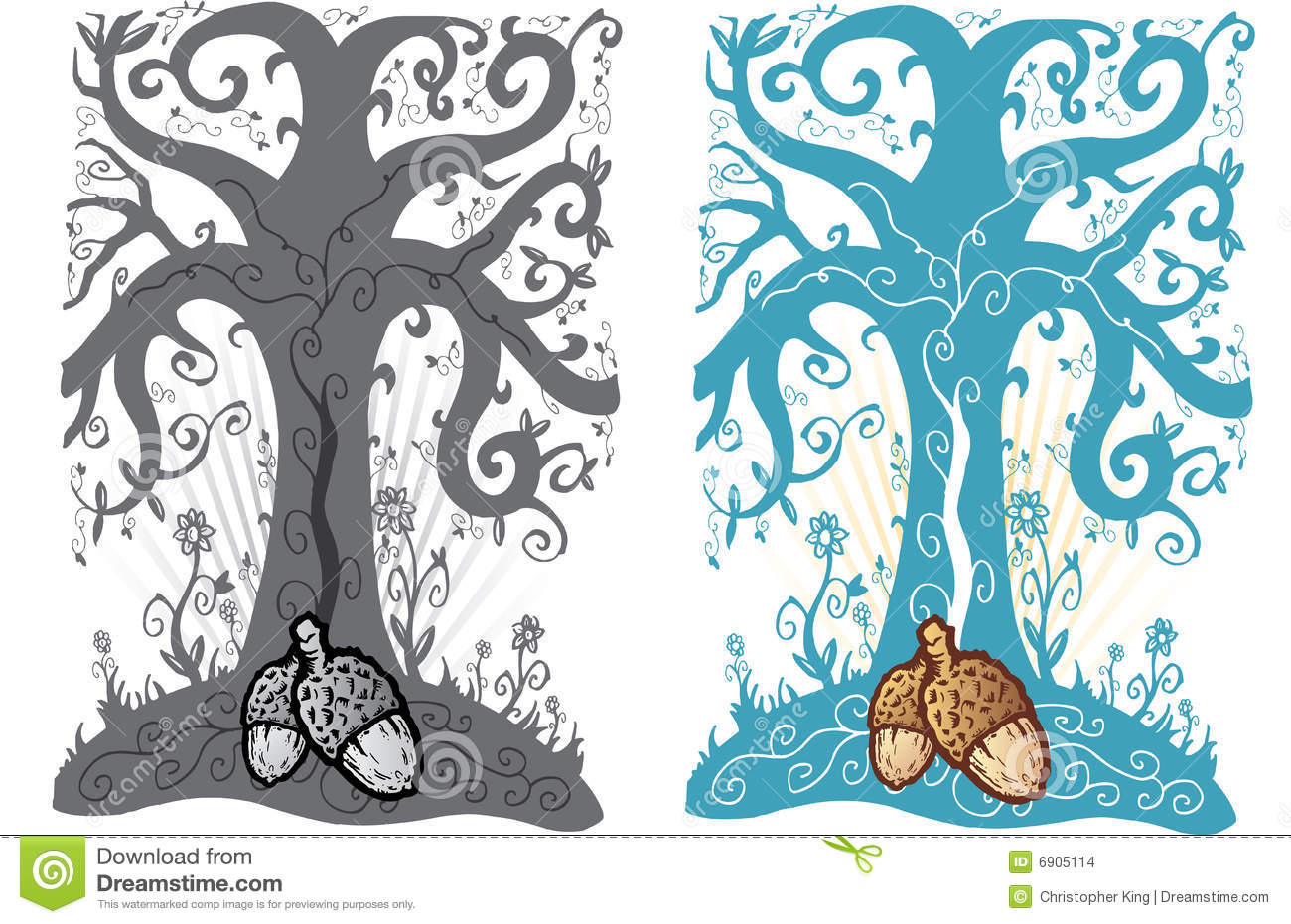 acorn and tree of life tattoo style illustration stock. Black Bedroom Furniture Sets. Home Design Ideas