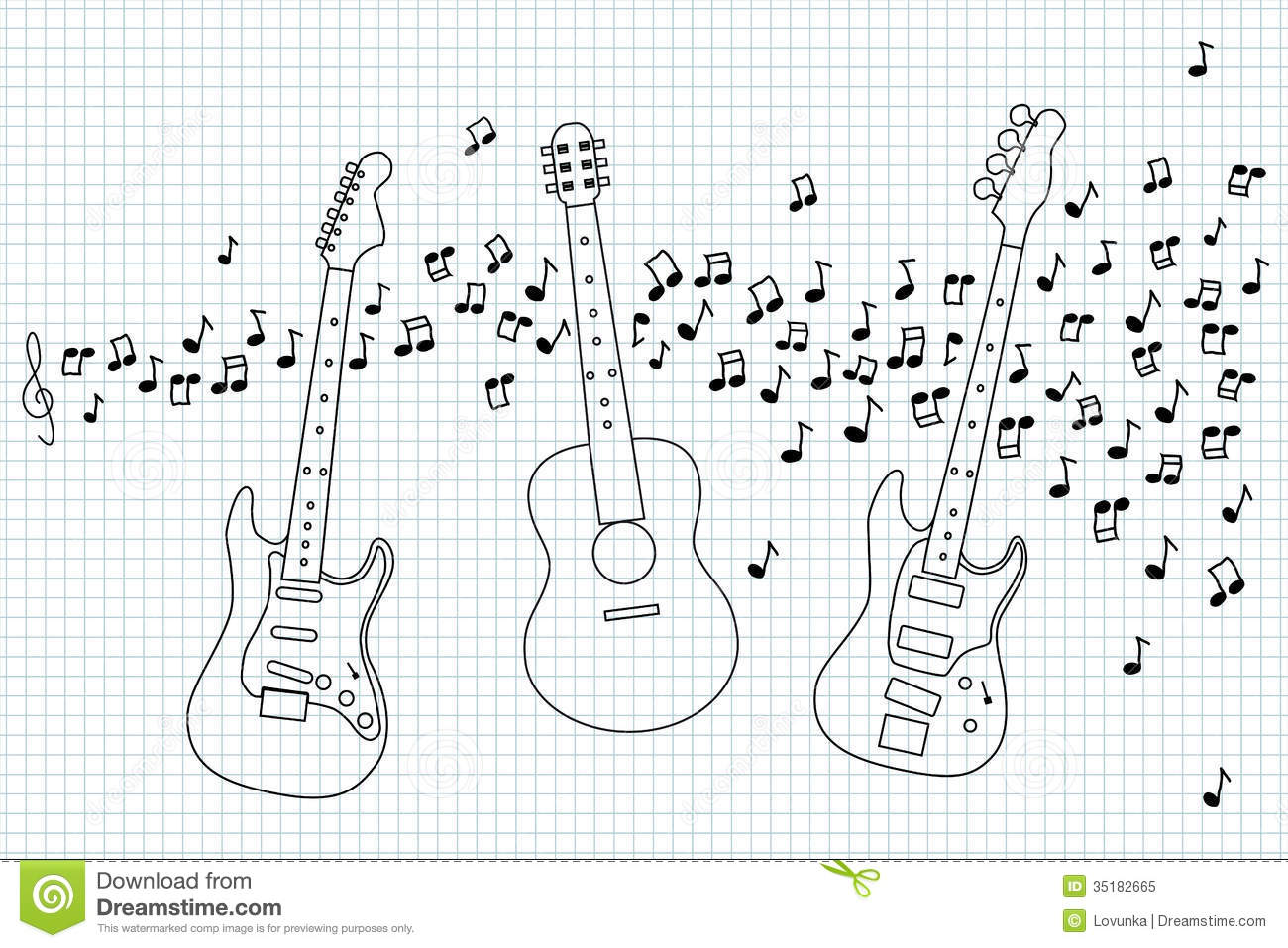 acoustic  electric and bass guitar stock vector