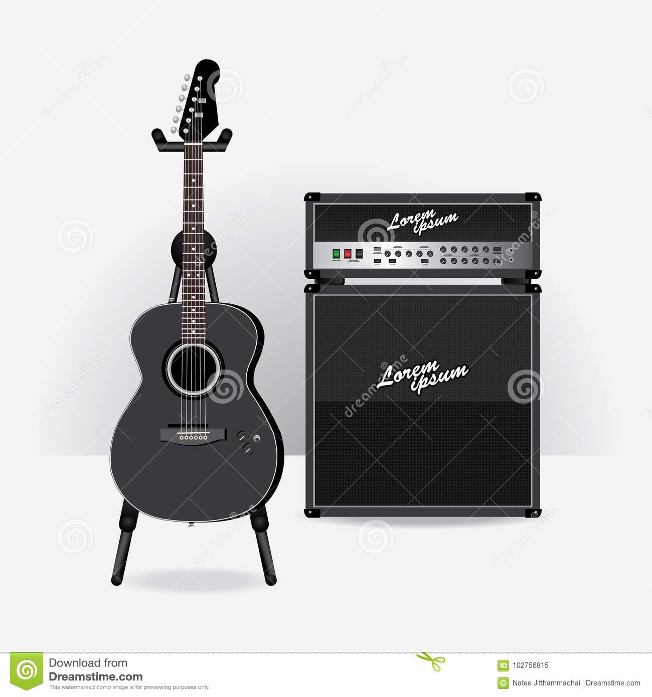 acoustic electric guitar with guitar amplifier stock vector illustration of loud button. Black Bedroom Furniture Sets. Home Design Ideas