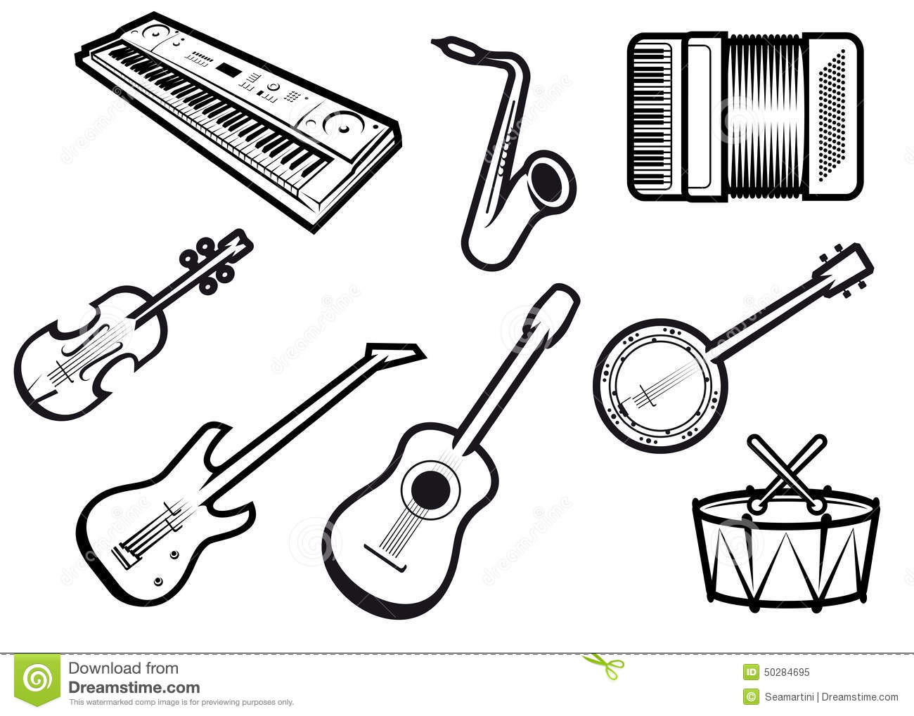 Outline sketch acoustic and electric musical instruments with guitars ...