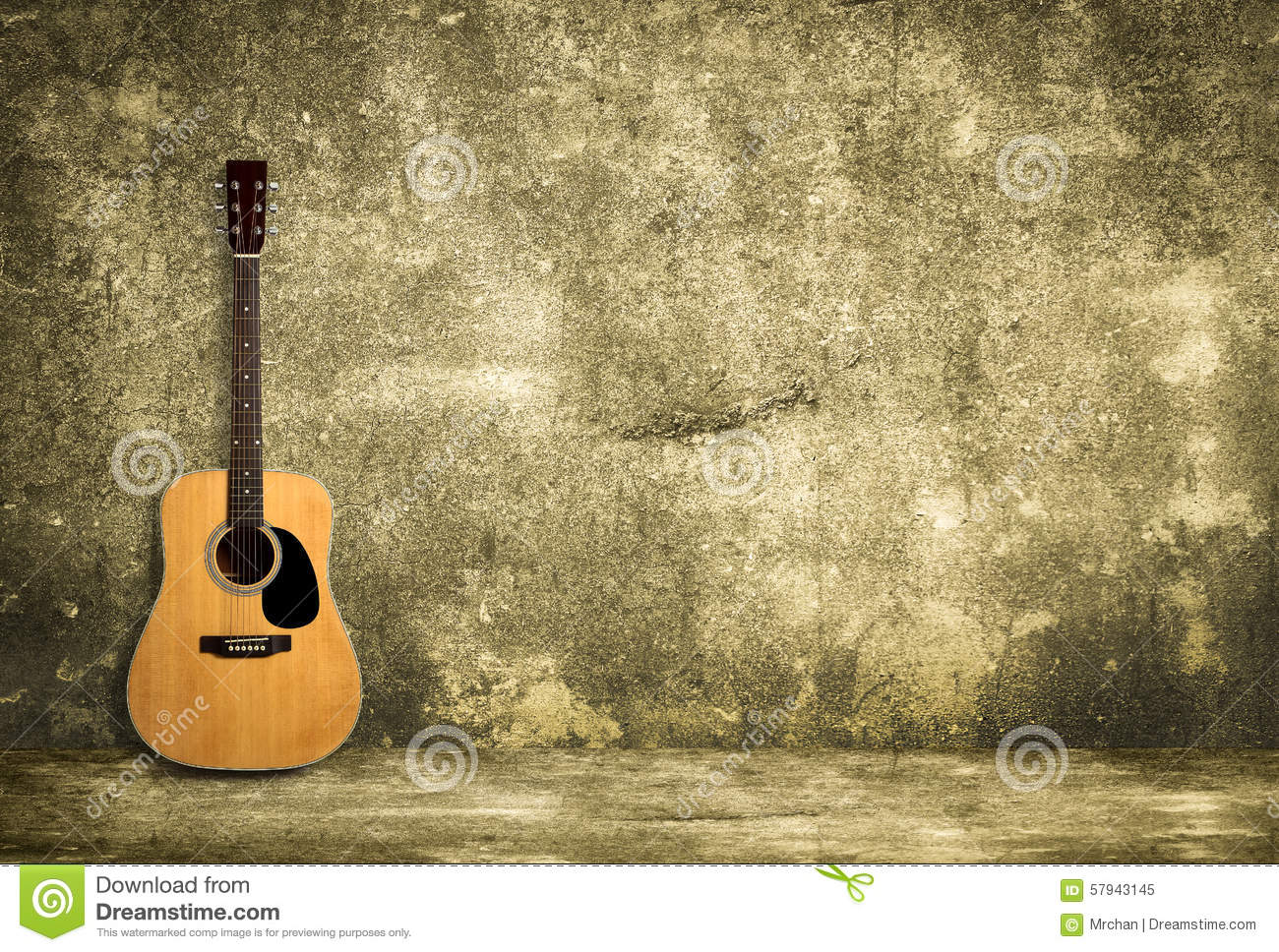 Acoustic guitar against old wall stock image image of for Wall style wallpaper
