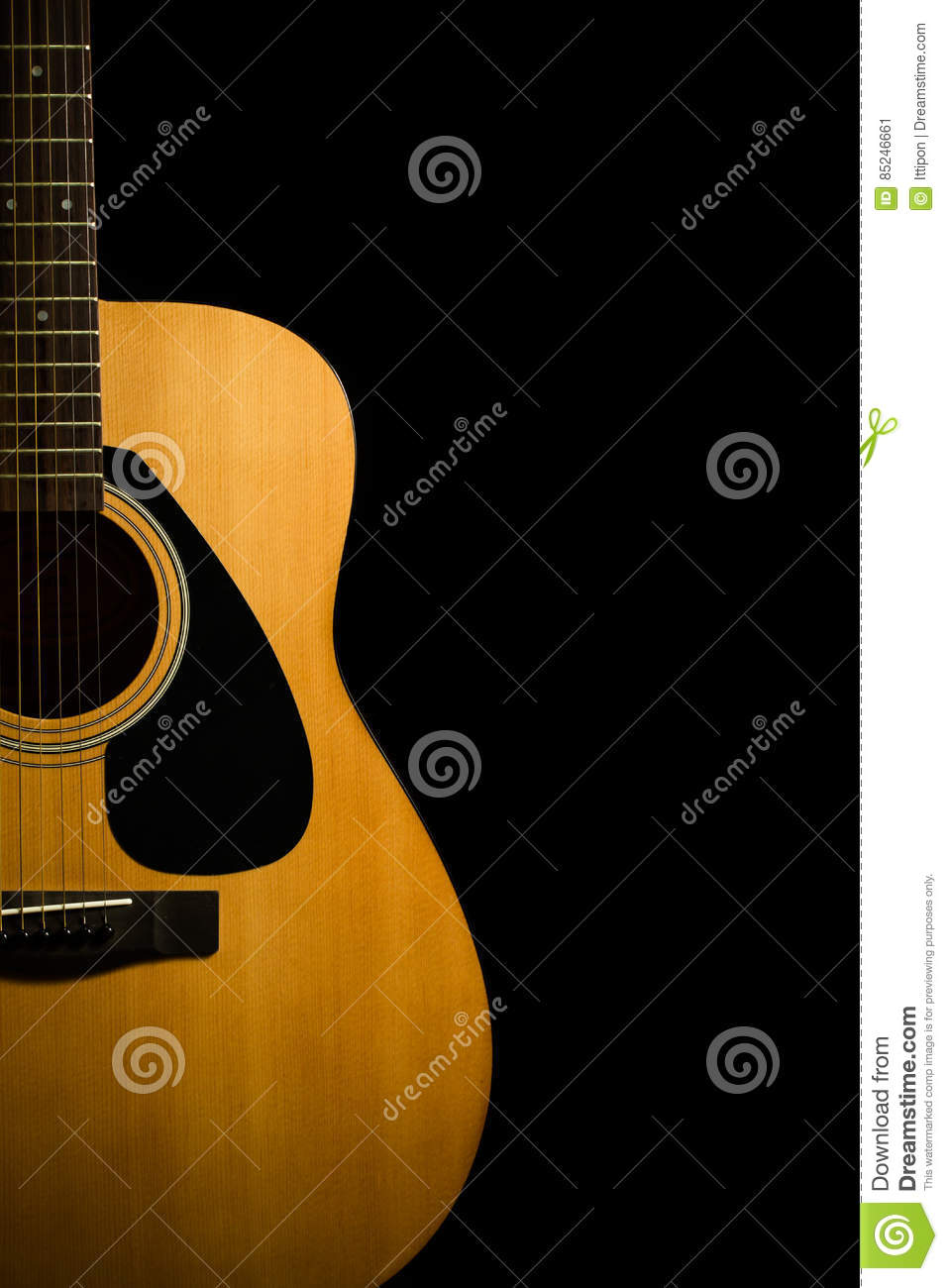 Acoustic Guitar On Black Background Stock Image Image Of Leisure