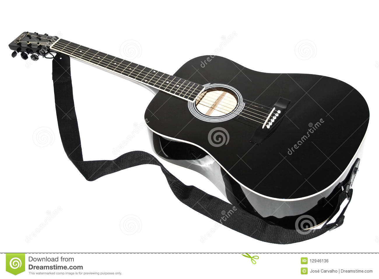 Acoustic Guitar Black Color Stock Photo Image Of White String