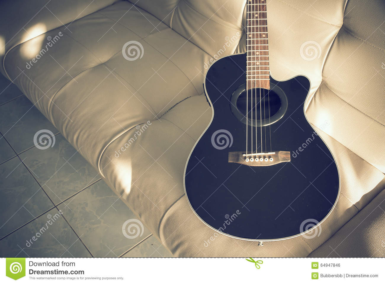 Acoustic Guitar Black Color On Sofa Cushions Stock Photo Image Of